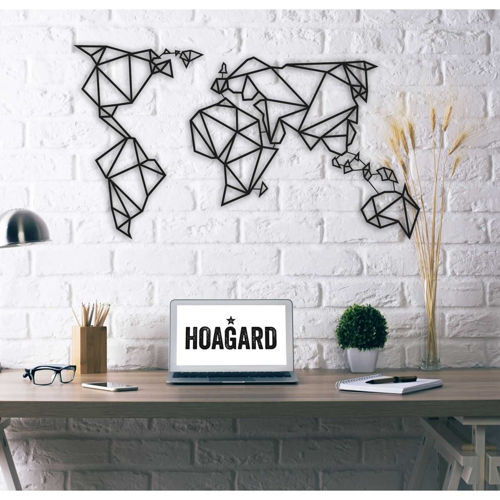 m tal d cor world map tableau mural 100x60 cm noir. Black Bedroom Furniture Sets. Home Design Ideas