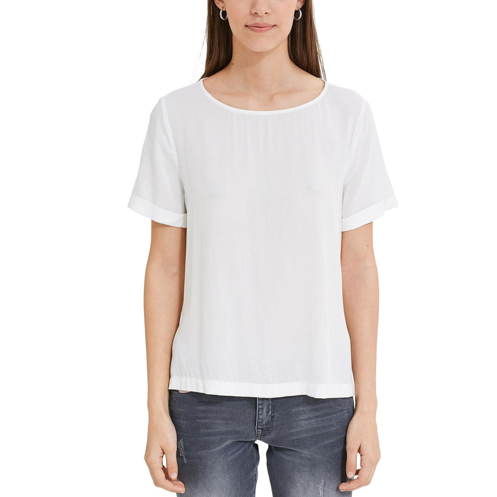 EDC By Esprit Turn up - T-shirt manches courtes - blanc