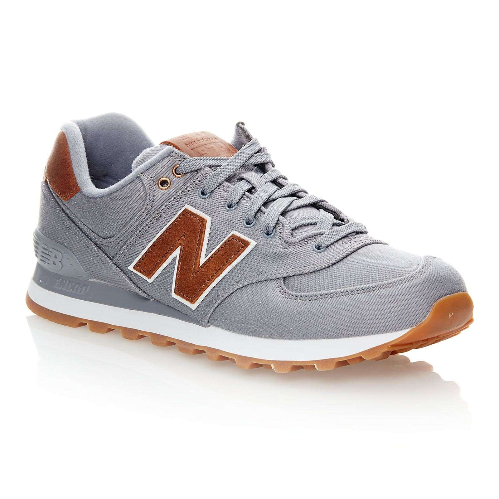 NEW BALANCE ML574 D Baskets en cuir mélangé gris