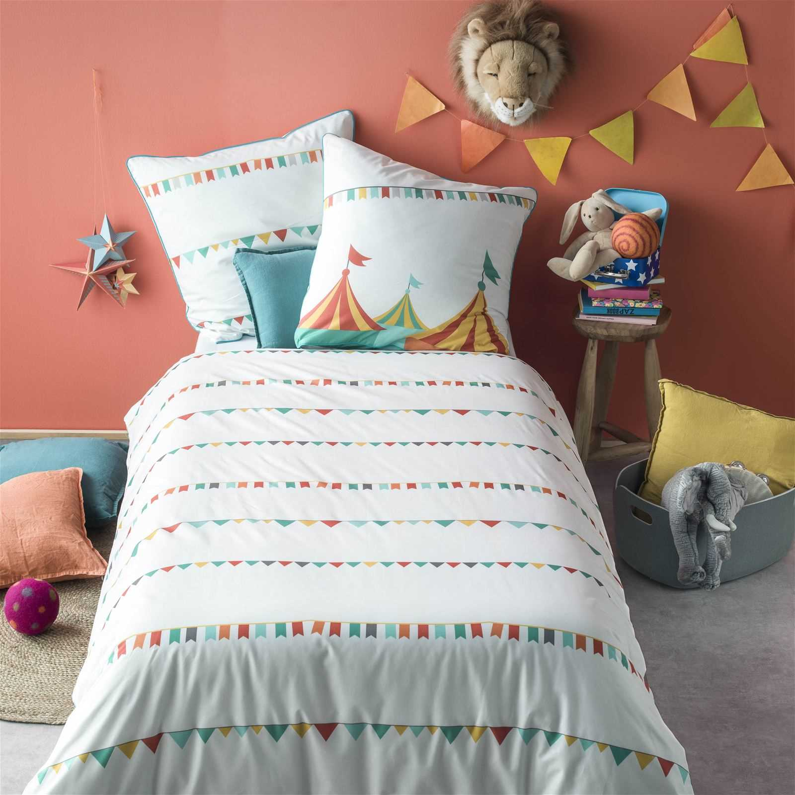 blanc cerise cirque des couleurs parure de lit enfant multicolore brandalley. Black Bedroom Furniture Sets. Home Design Ideas