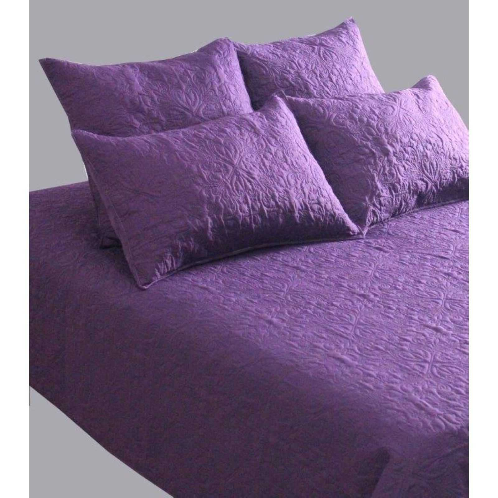 home deco ensemble couvre lit boutis 5 pi ces violet brandalley. Black Bedroom Furniture Sets. Home Design Ideas