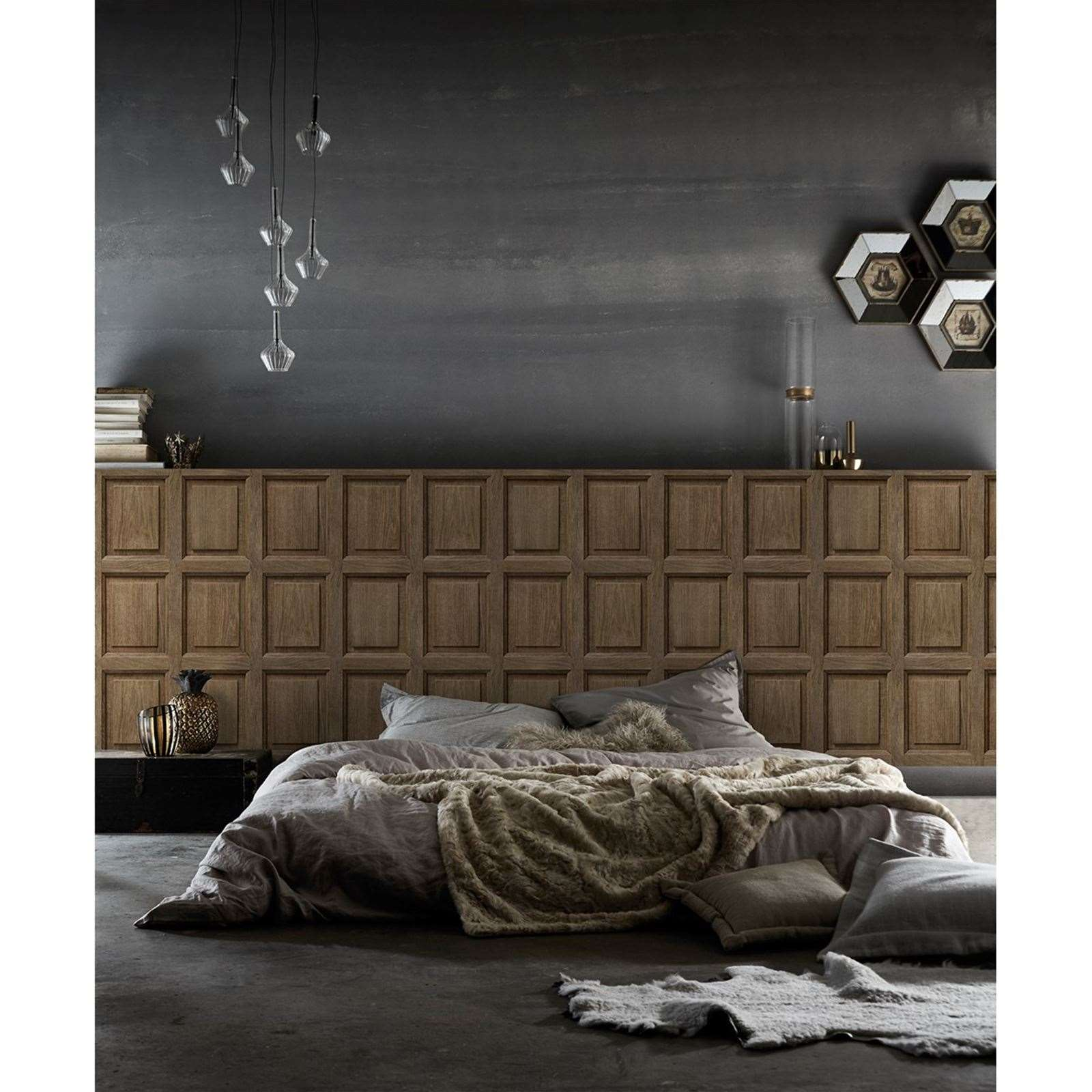 koziel boiserie anglaise en ch ne papier peint marron brandalley. Black Bedroom Furniture Sets. Home Design Ideas
