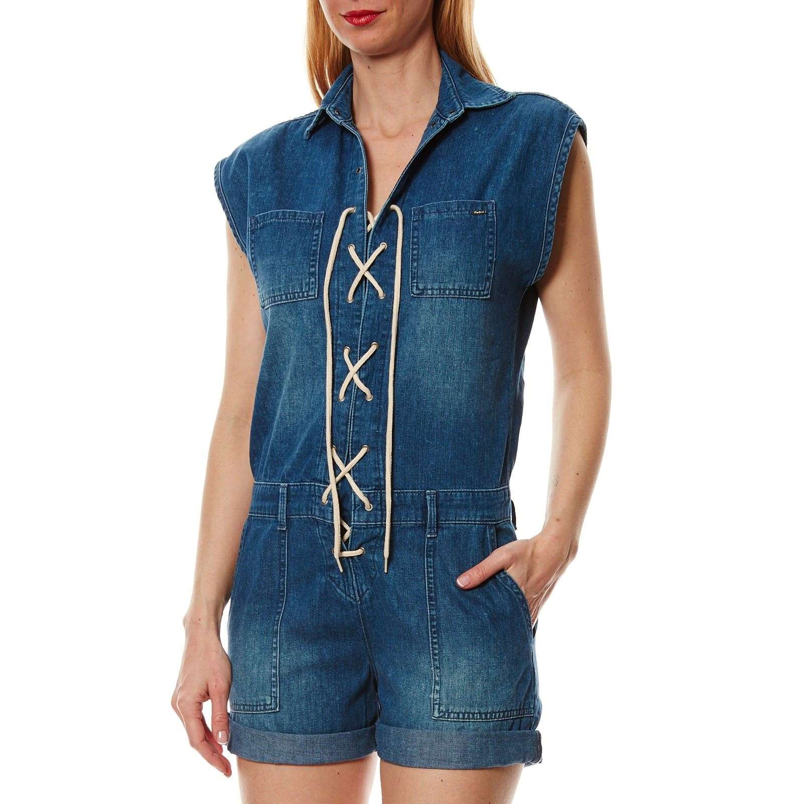 Pepe Jeans London castaway - Combi-short en jean - denim bleu