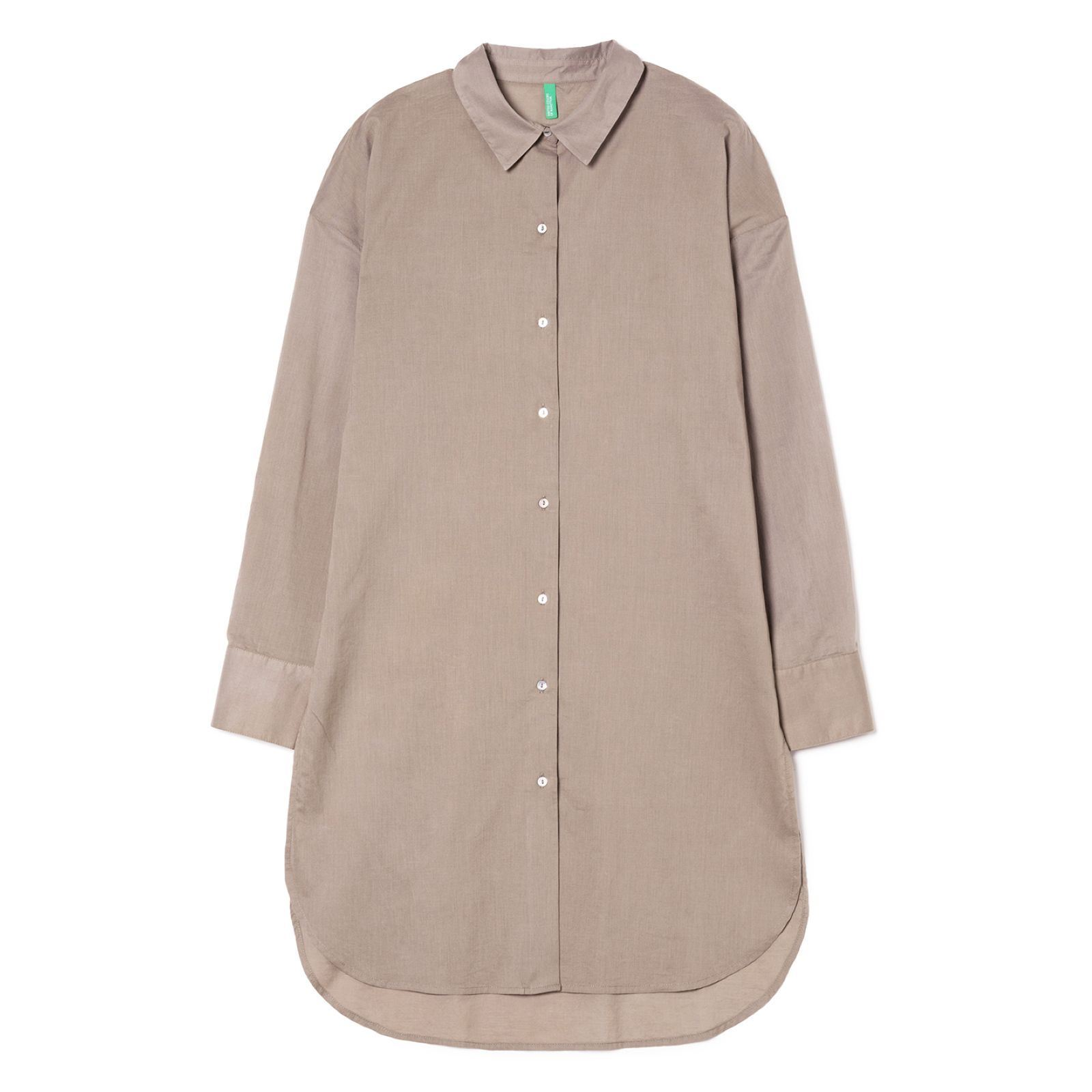 Benetton Chemise Manches Brandalley Longues Taupe rrq71 a6db4fbad8b