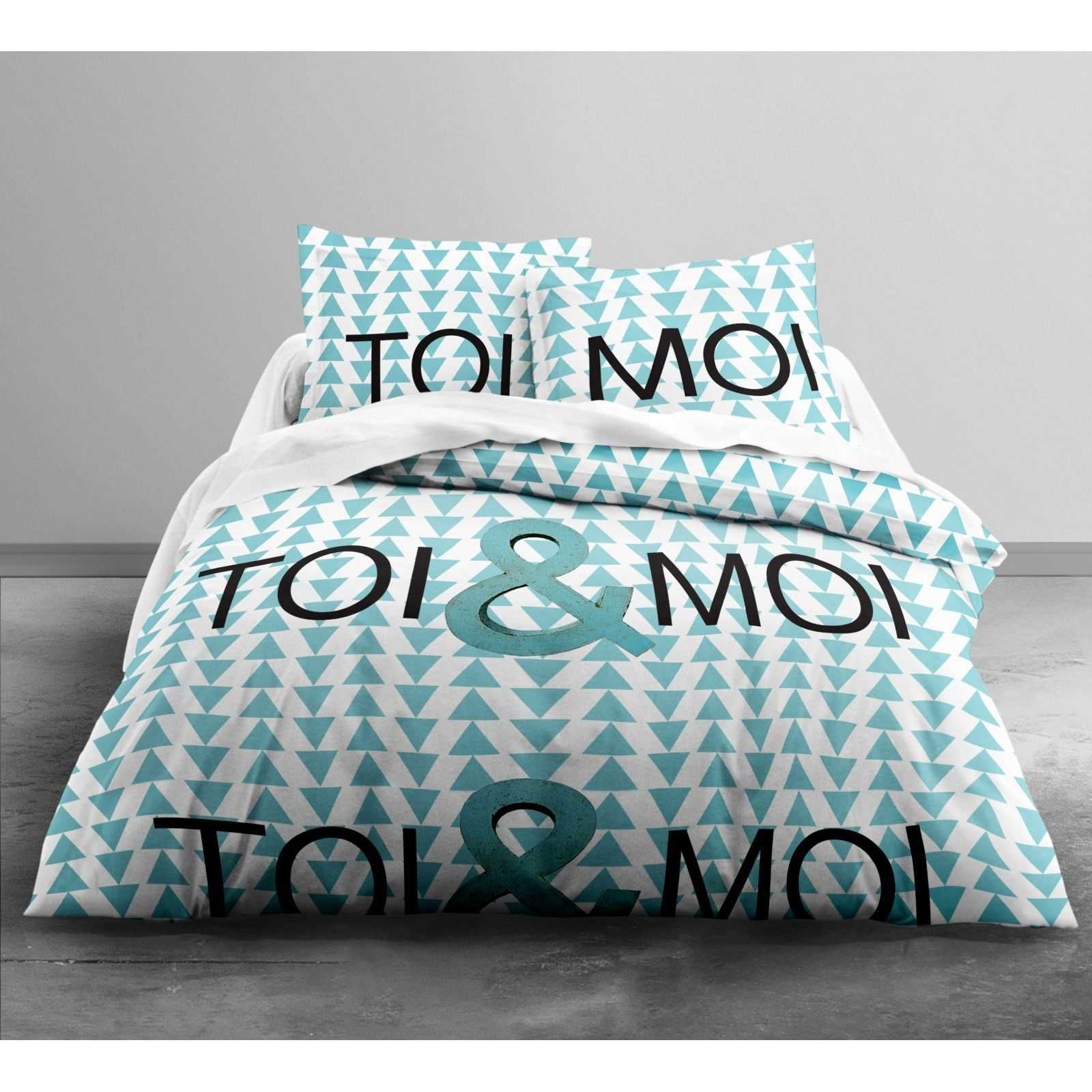 today toi moi parure de lit turquoise brandalley. Black Bedroom Furniture Sets. Home Design Ideas