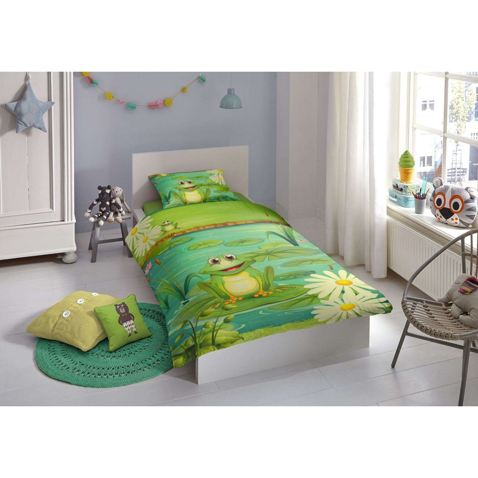 goodmorning frogs parure de lit vert brandalley. Black Bedroom Furniture Sets. Home Design Ideas