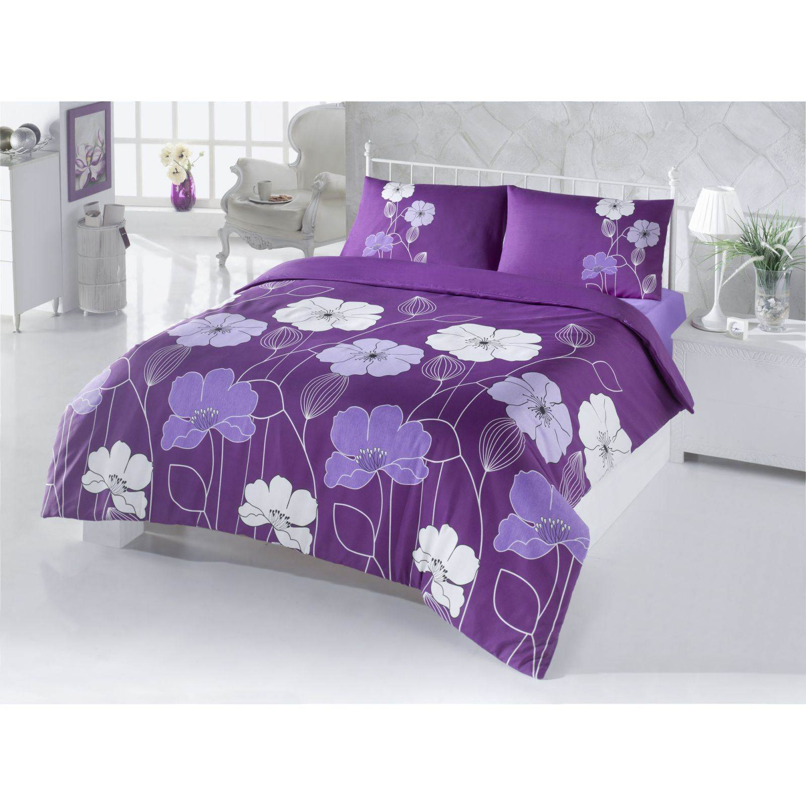 victoria home parure de lit mauve brandalley. Black Bedroom Furniture Sets. Home Design Ideas