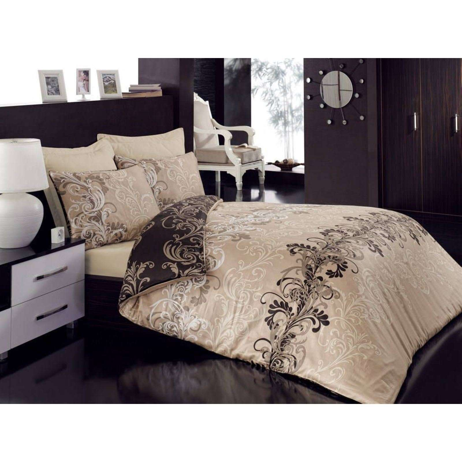 home sweet home parure de lit en satin de coton imprim. Black Bedroom Furniture Sets. Home Design Ideas