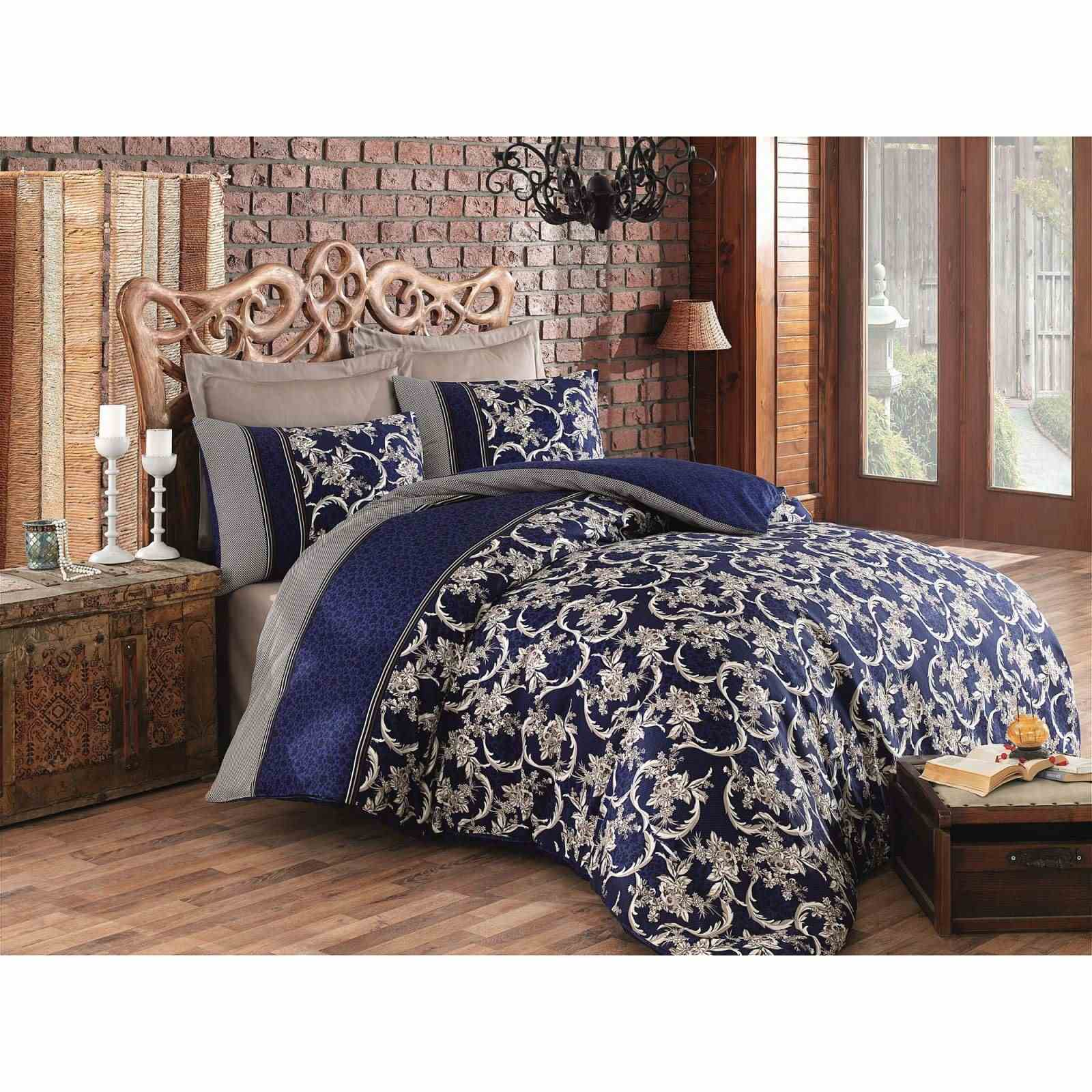 cotton box parure de lit en satin de coton bleu marine. Black Bedroom Furniture Sets. Home Design Ideas