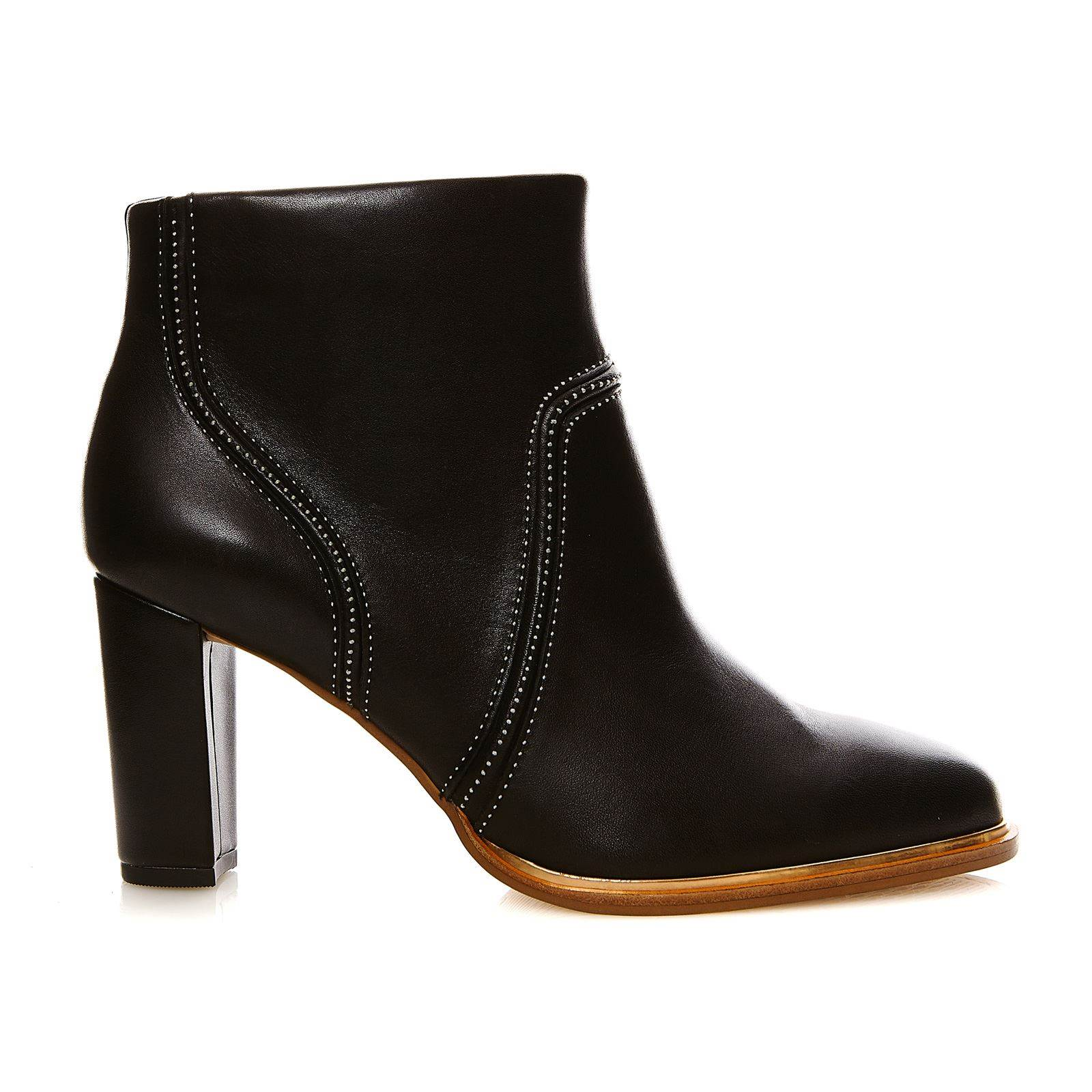 Clarks ellis betty black leather bottines en cuir noir brandalley - Verlicht en cuir noir ...