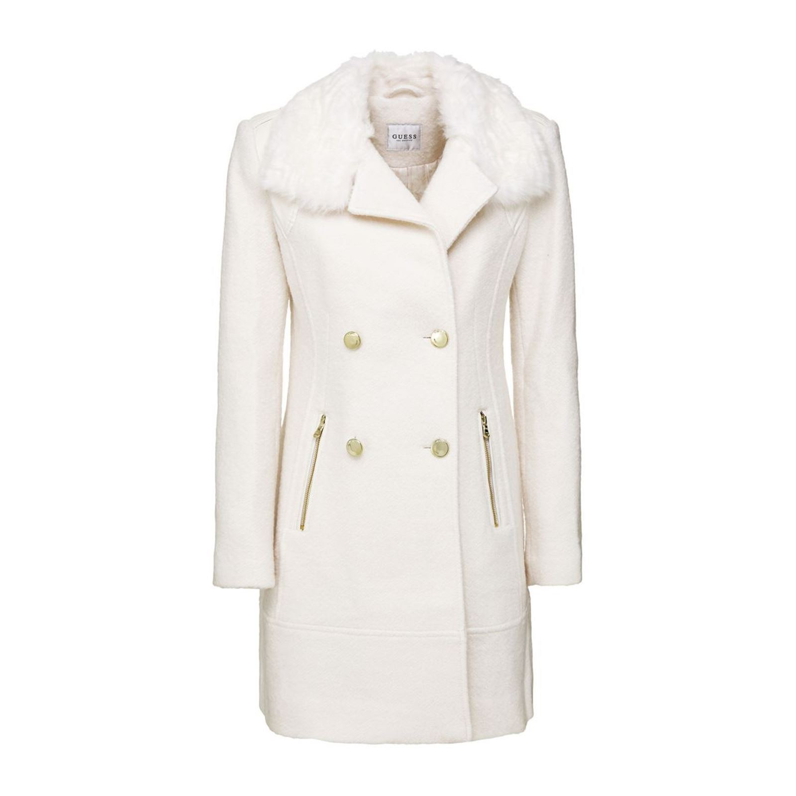 Manteau Guess Brandalley Revers Blanc Imitation Fourrure ZqrxU1qd