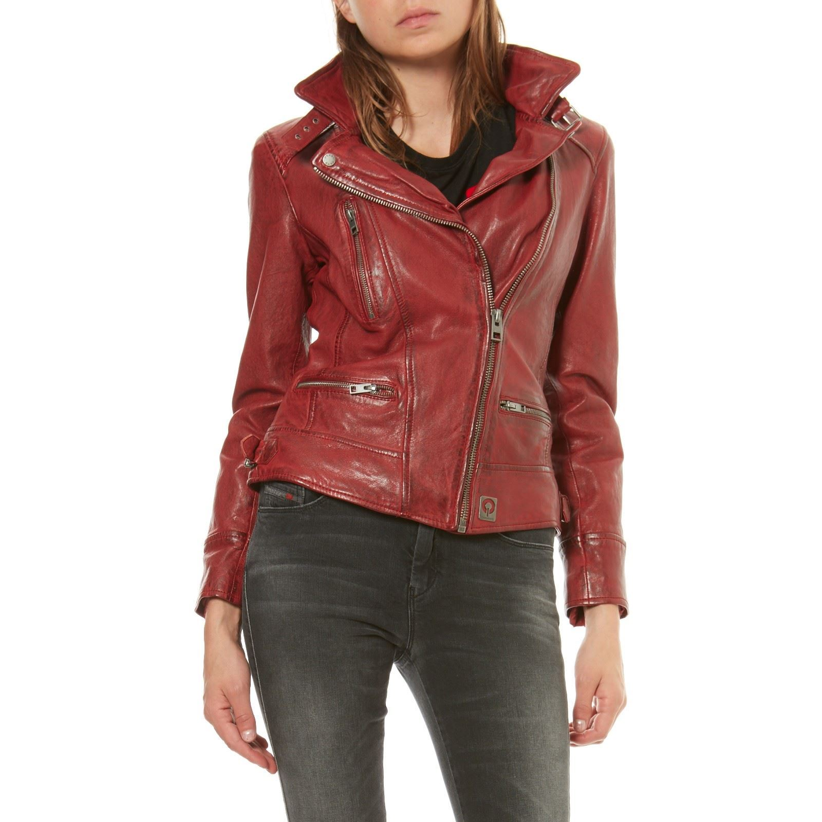 Oakwood Video - Veste en cuir de mouton - rouge   BrandAlley d31de8f4d130