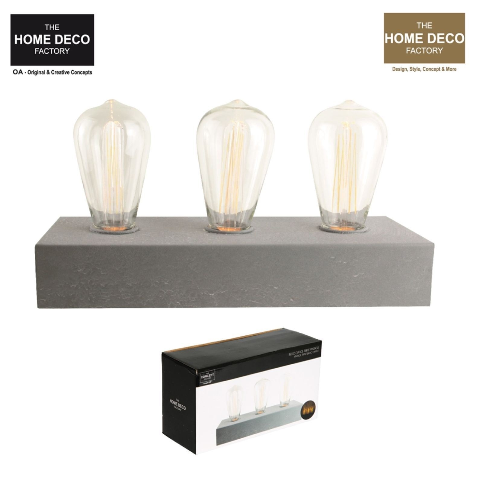 the home deco factory d co lumineuse b ton 3 ampoules vintage gris brandalley. Black Bedroom Furniture Sets. Home Design Ideas