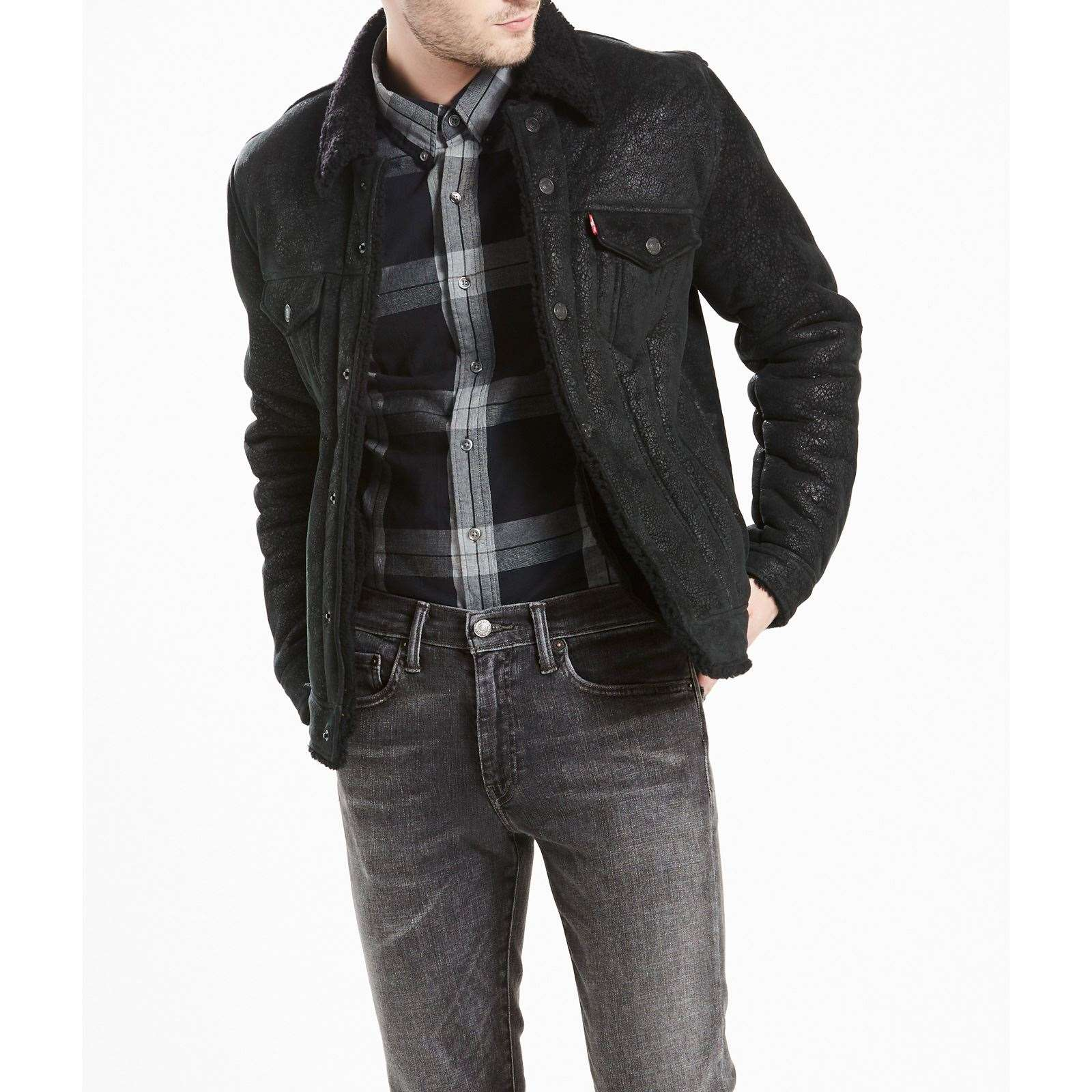 599cb0d85912e Levi s The Shearling Trucker Jacket - Veste en cuir - anthracite ...
