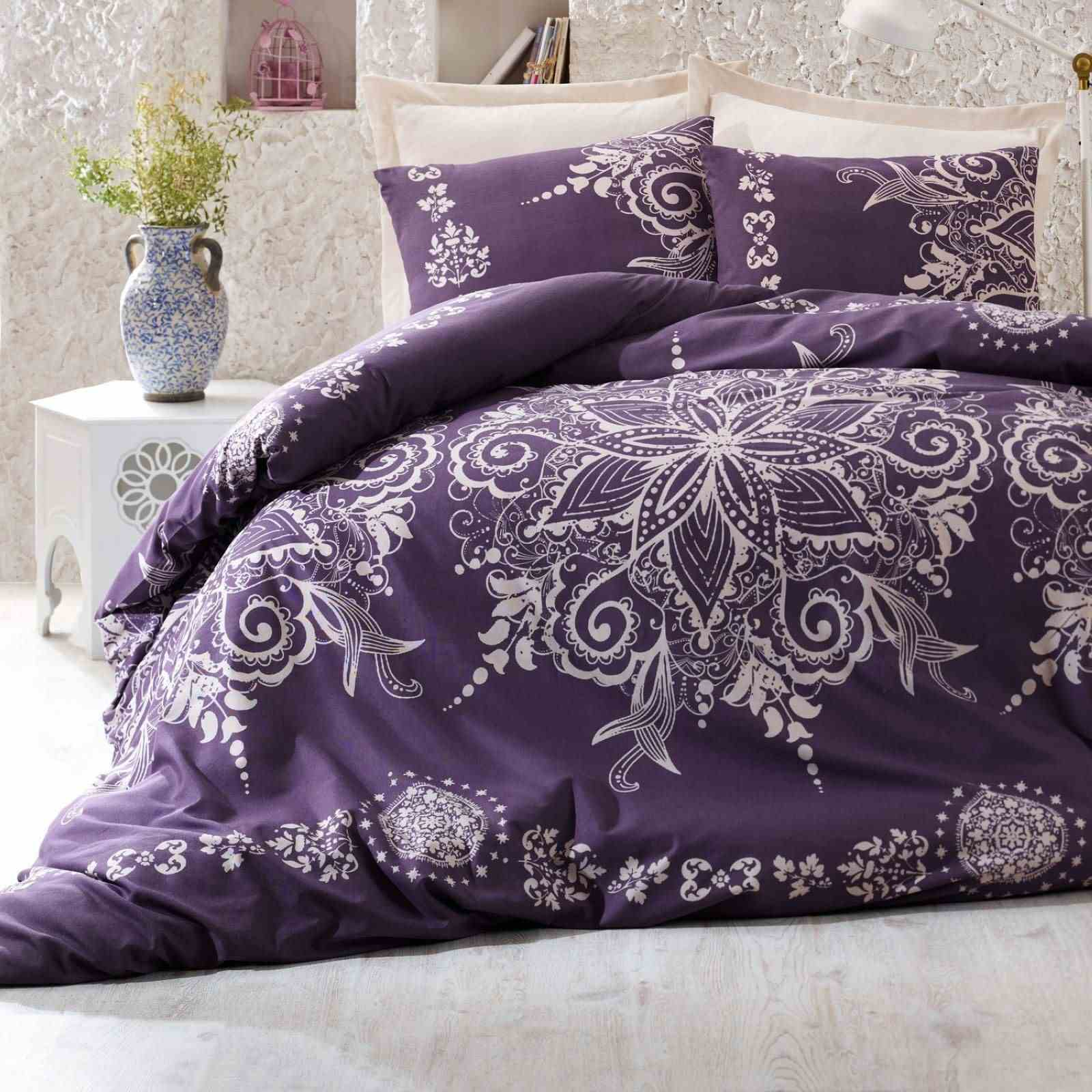 nazenin parure de lit violet brandalley. Black Bedroom Furniture Sets. Home Design Ideas