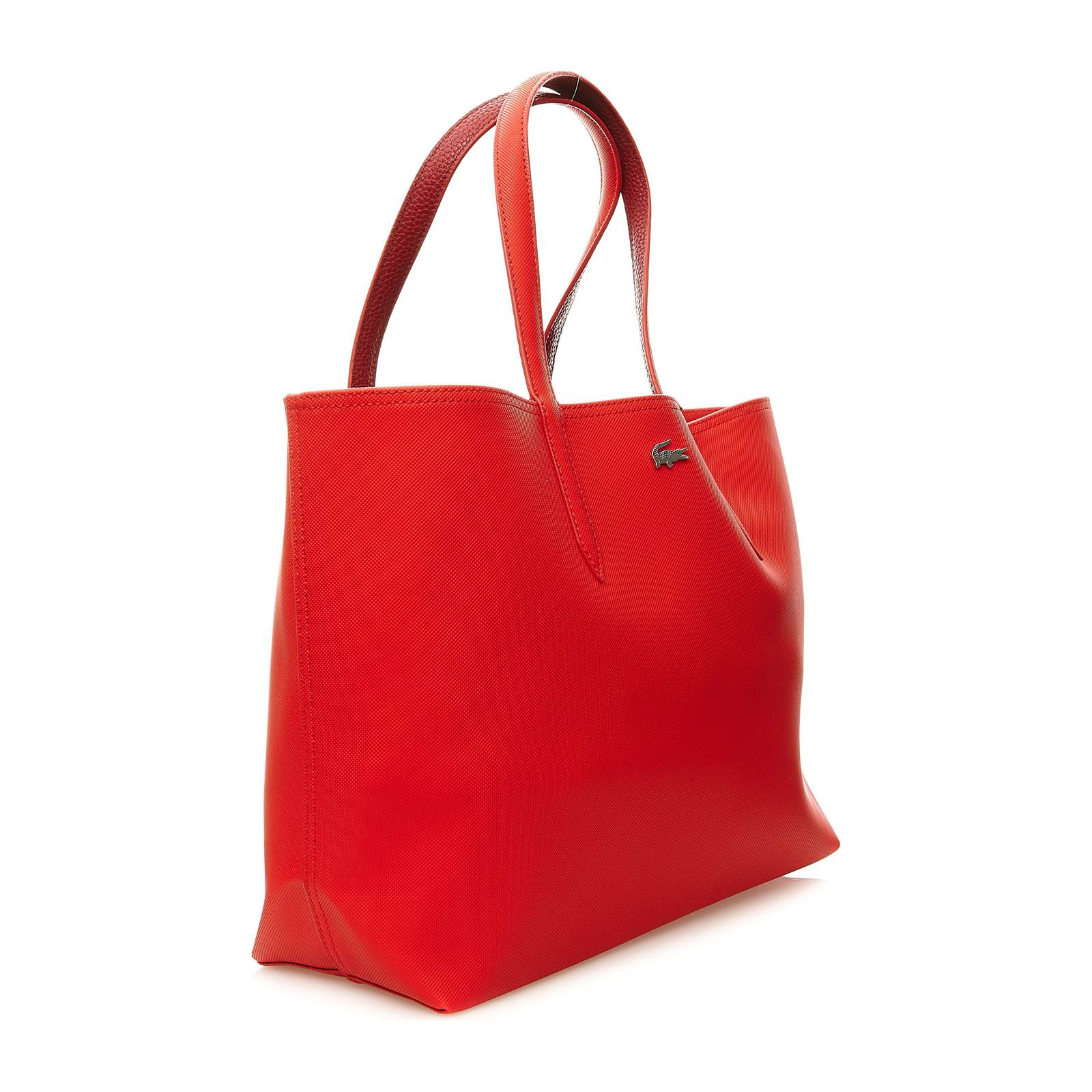 lacoste sac shopping accompagn de sa pochette assortie rouge brandalley. Black Bedroom Furniture Sets. Home Design Ideas