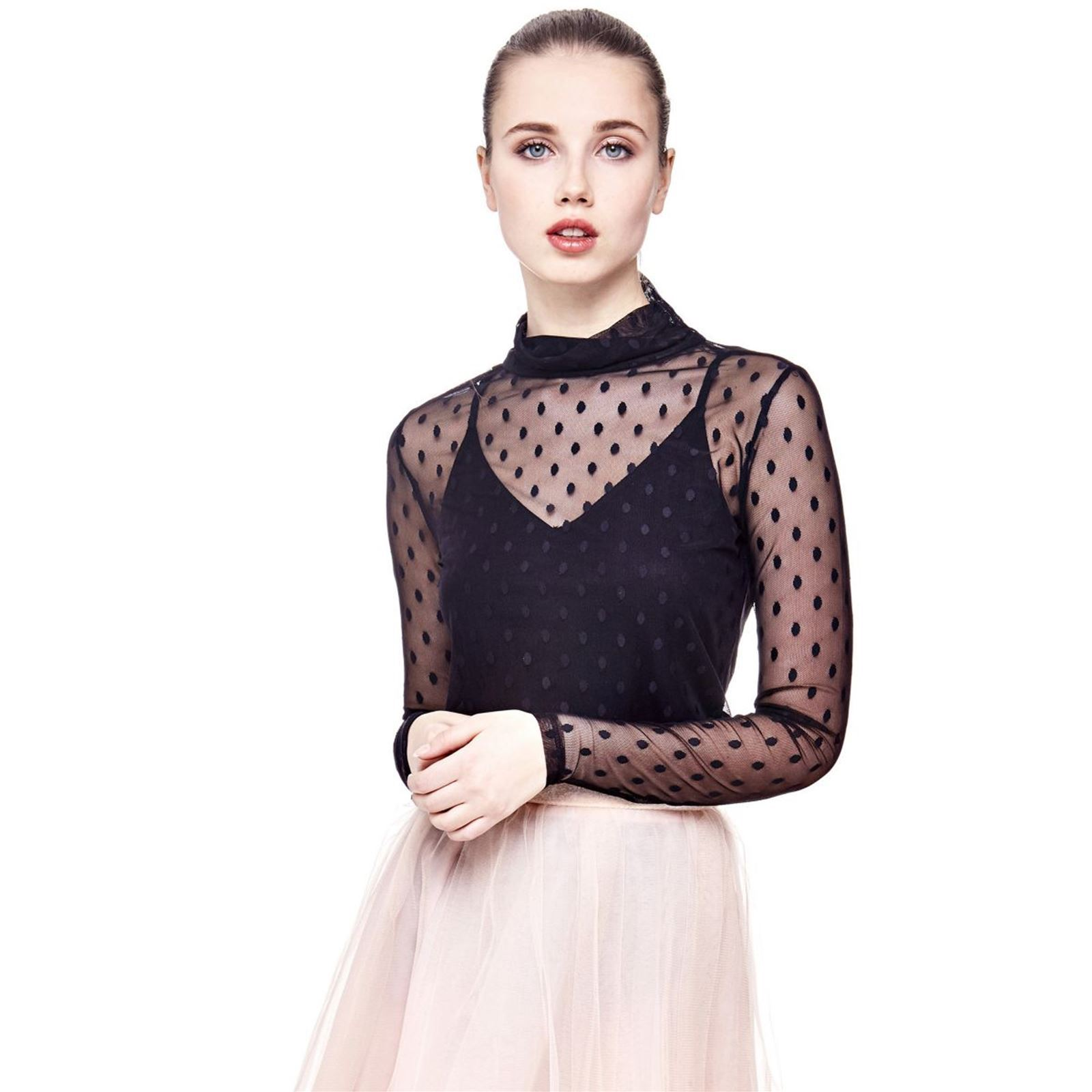 Guess Top à pois en tissu transparent - noir
