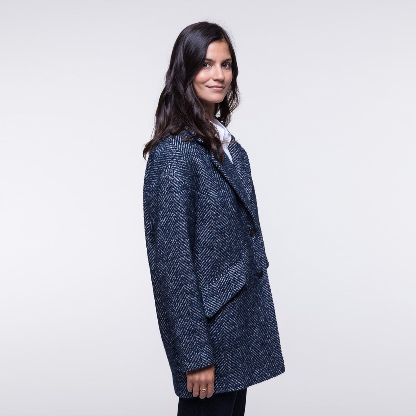 Manteau 62laine Trench boucl Coat And I Oversize N0PknOZ8wX