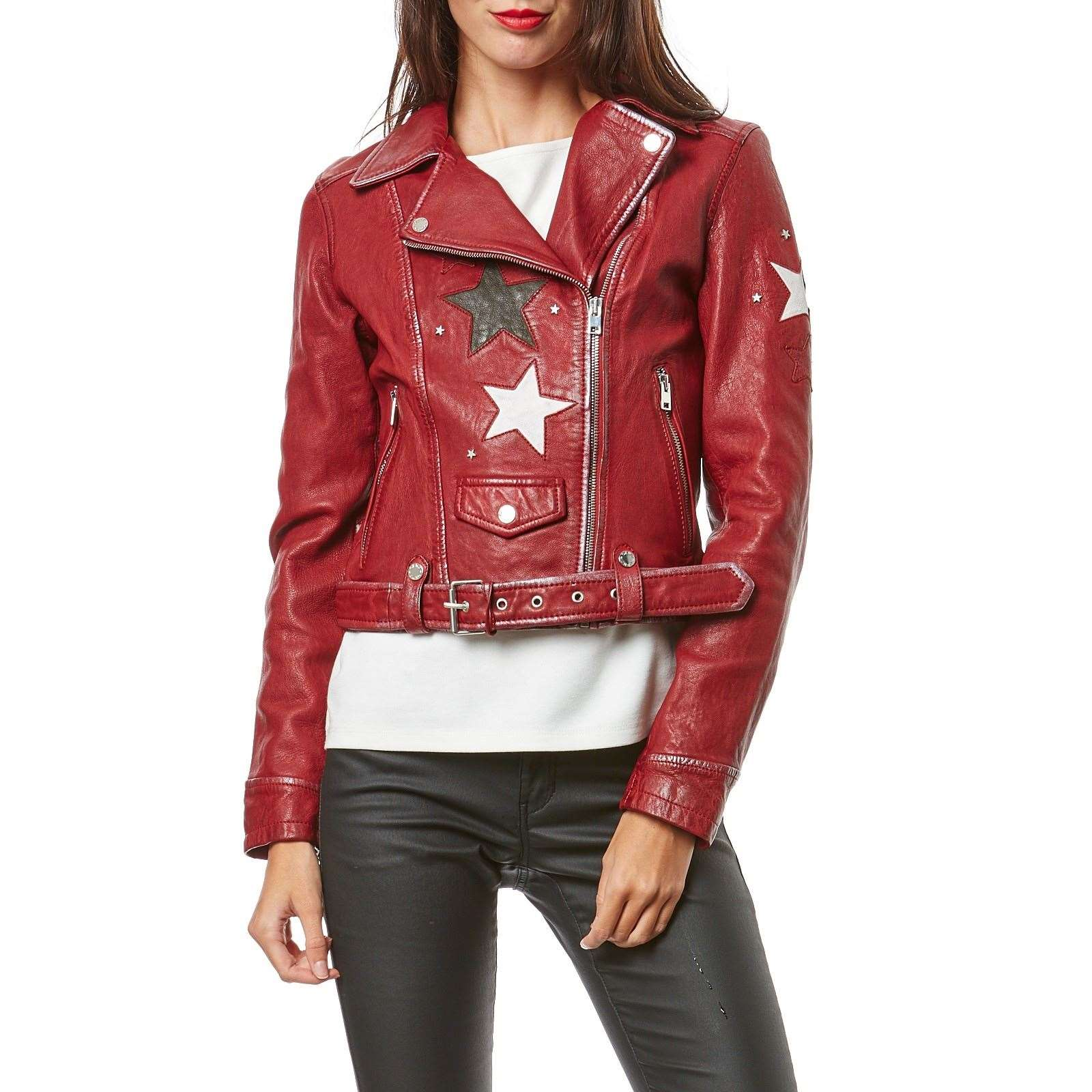 Oakwood Courtney - Veste biker en cuir de mouton - rouge   BrandAlley f326847c1b2a