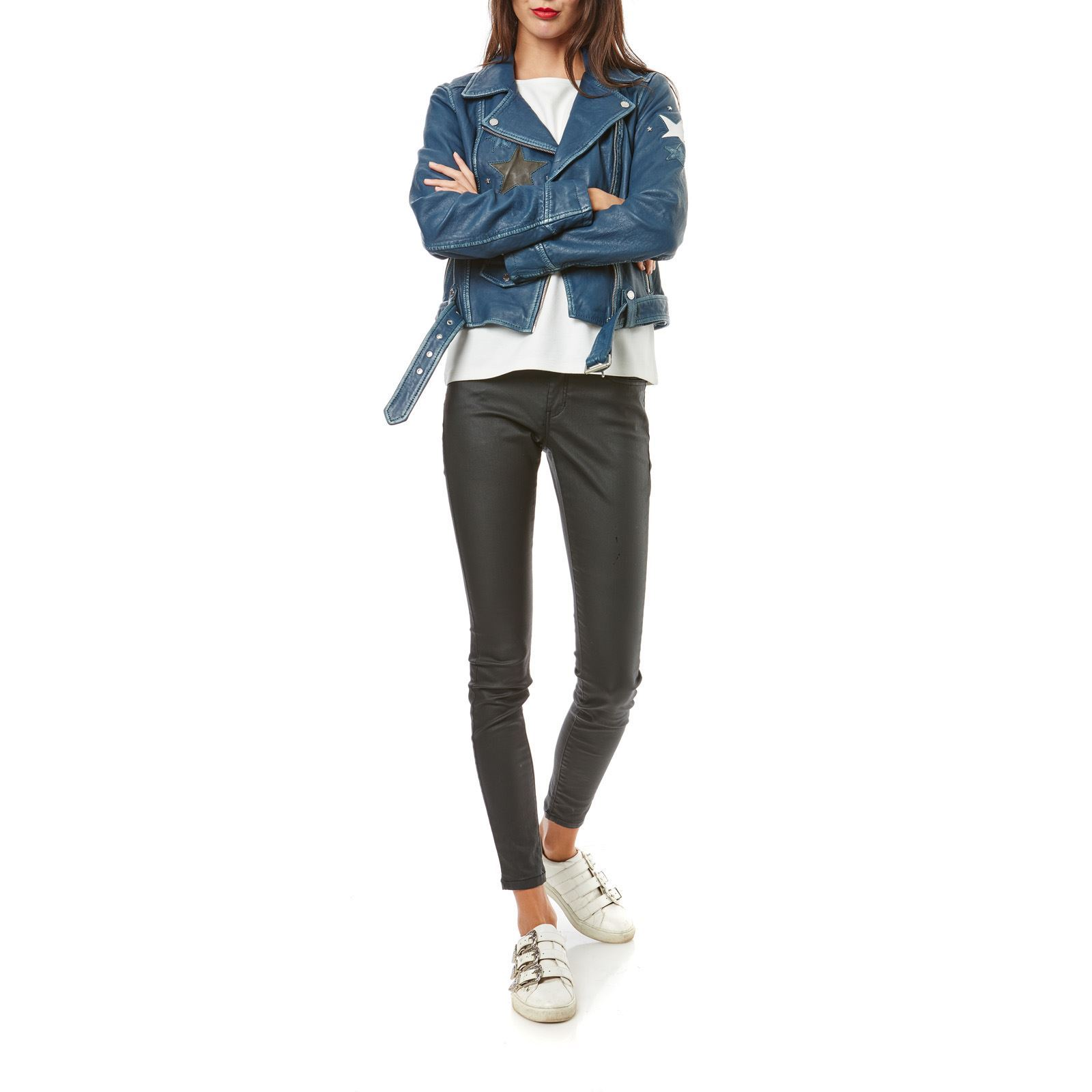 Oakwood Courtney - Veste biker en cuir de mouton - bleu jean   BrandAlley af504337890c