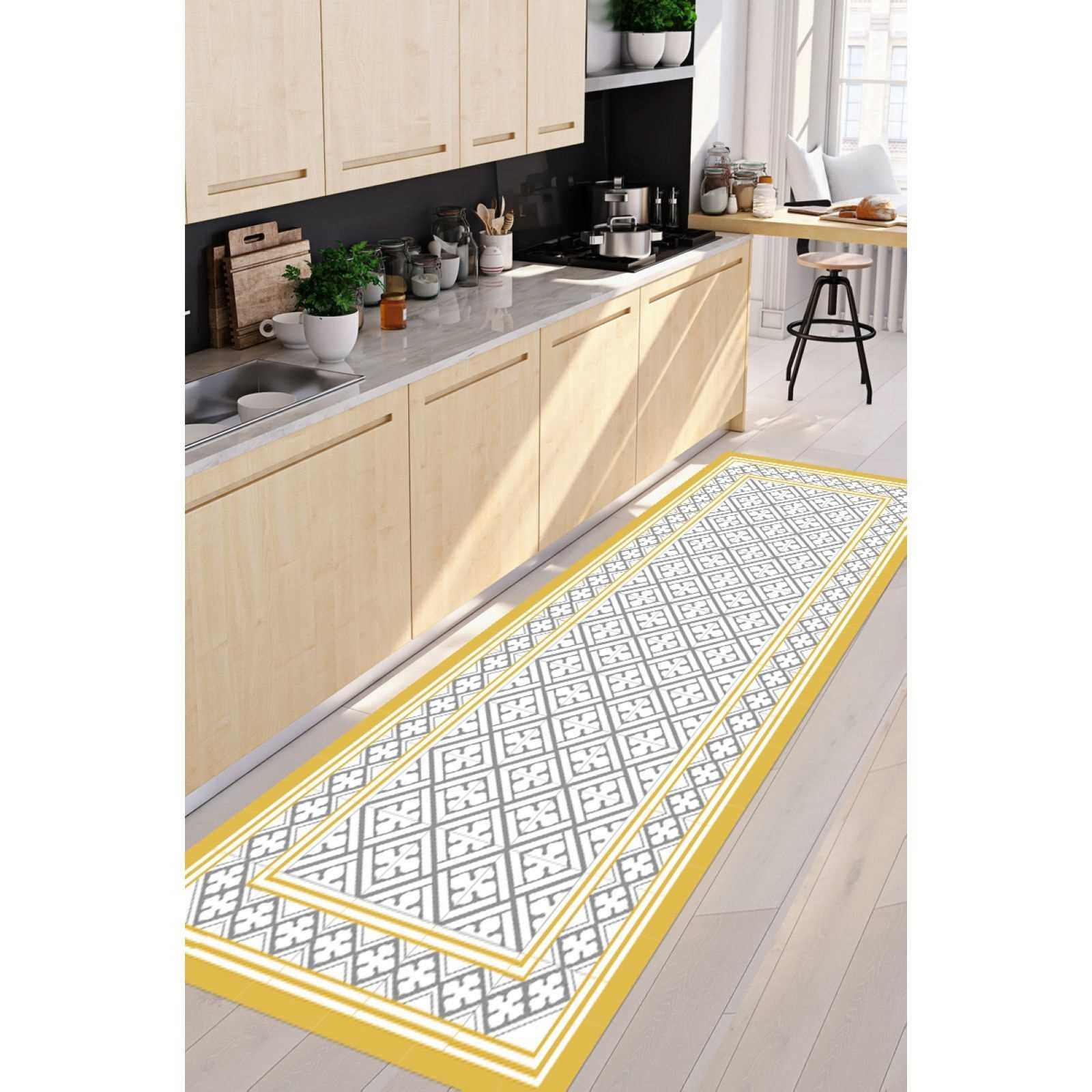 Floorart Palace Mustard And Grey Tapis De Cuisine Jaune Brandalley