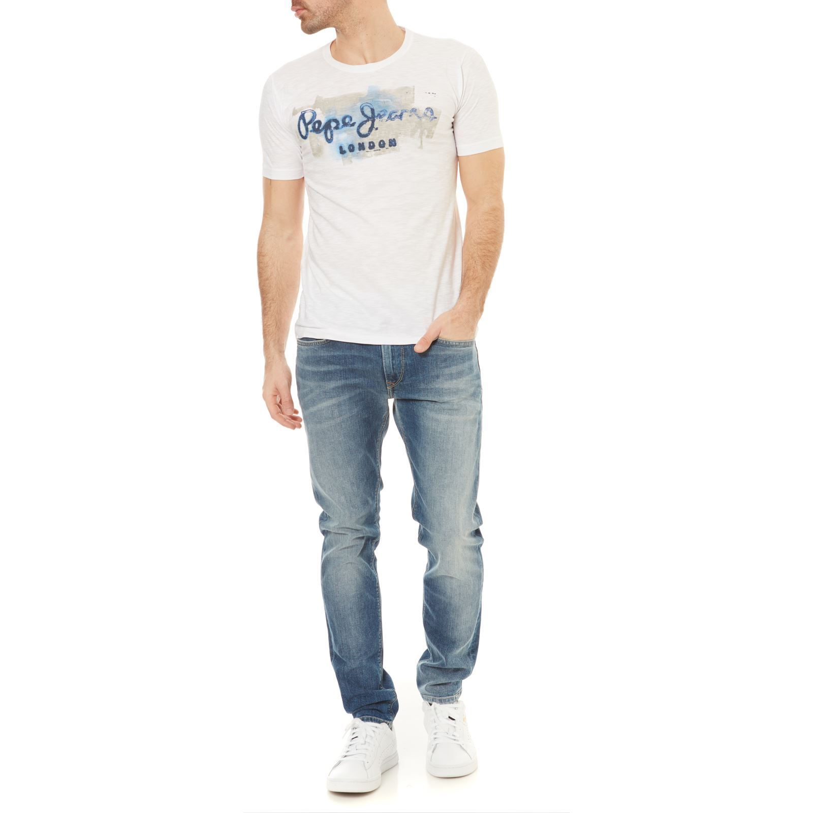 Jeans Manches T London Blanc shirt Pepe Golders Courtes zBfdfw