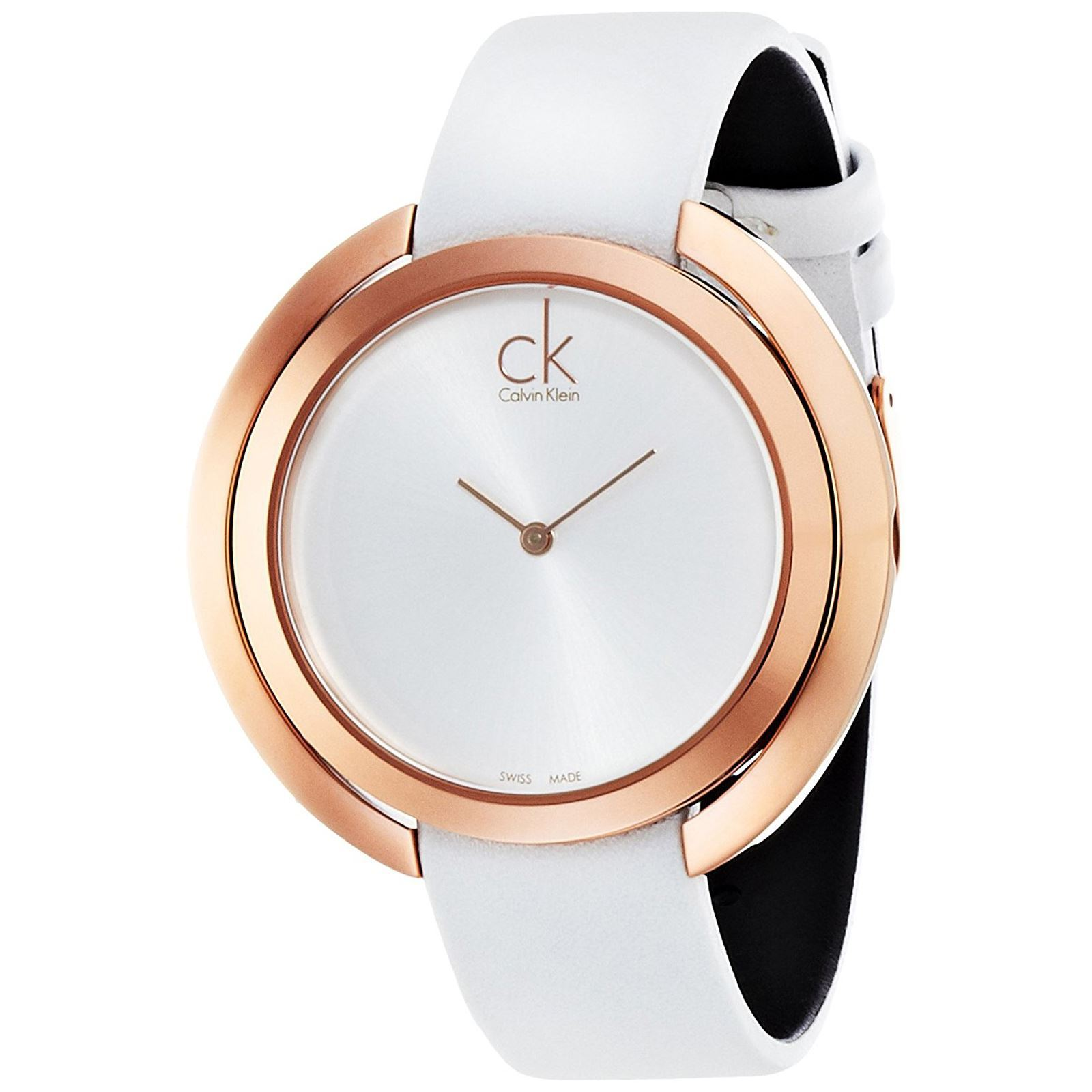 calvin klein montre avec bracelet en cuir blanc brandalley. Black Bedroom Furniture Sets. Home Design Ideas