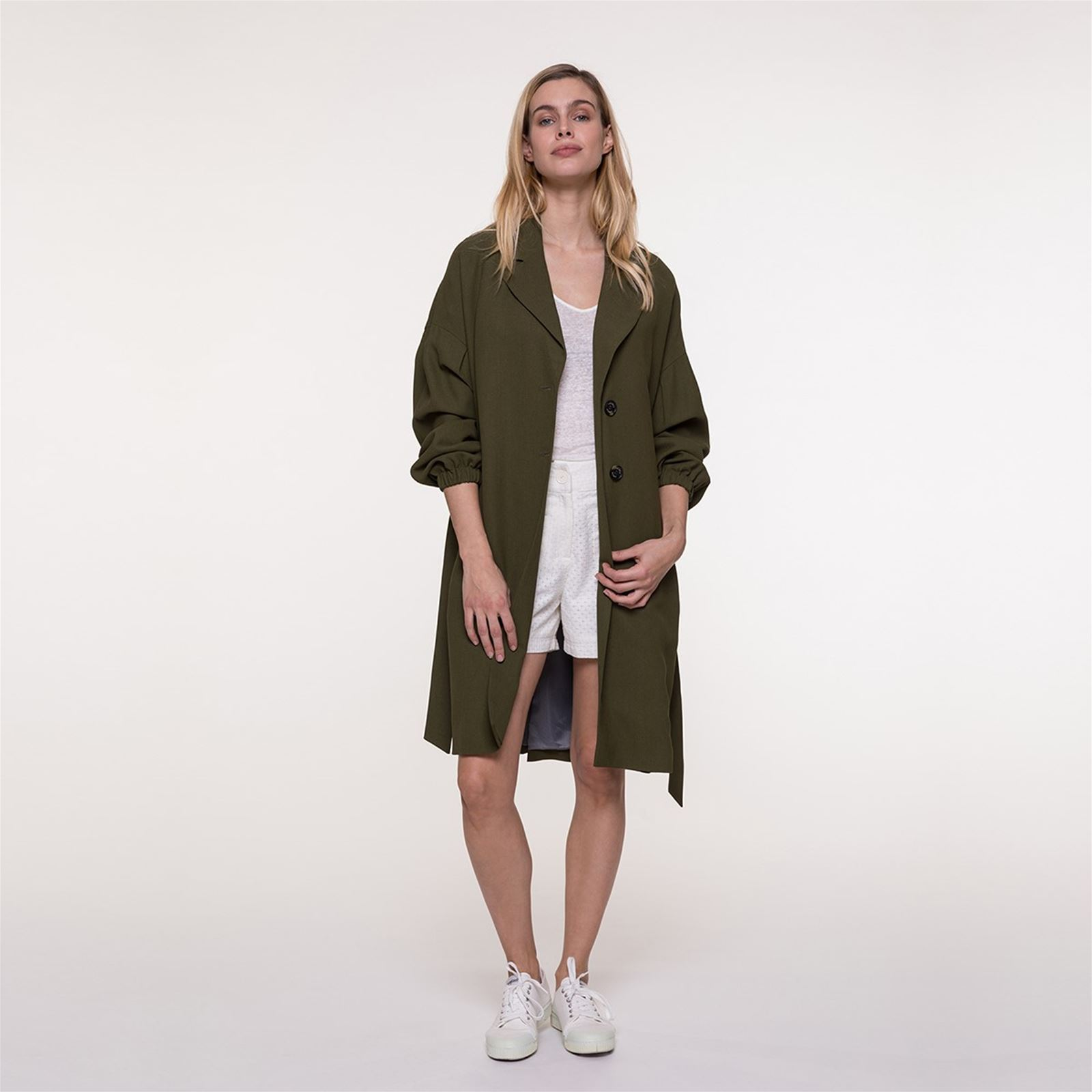 And Manteau Brandalley Oversize Trench Coat Fluide En Tissu Kaki ZfqfgUPw