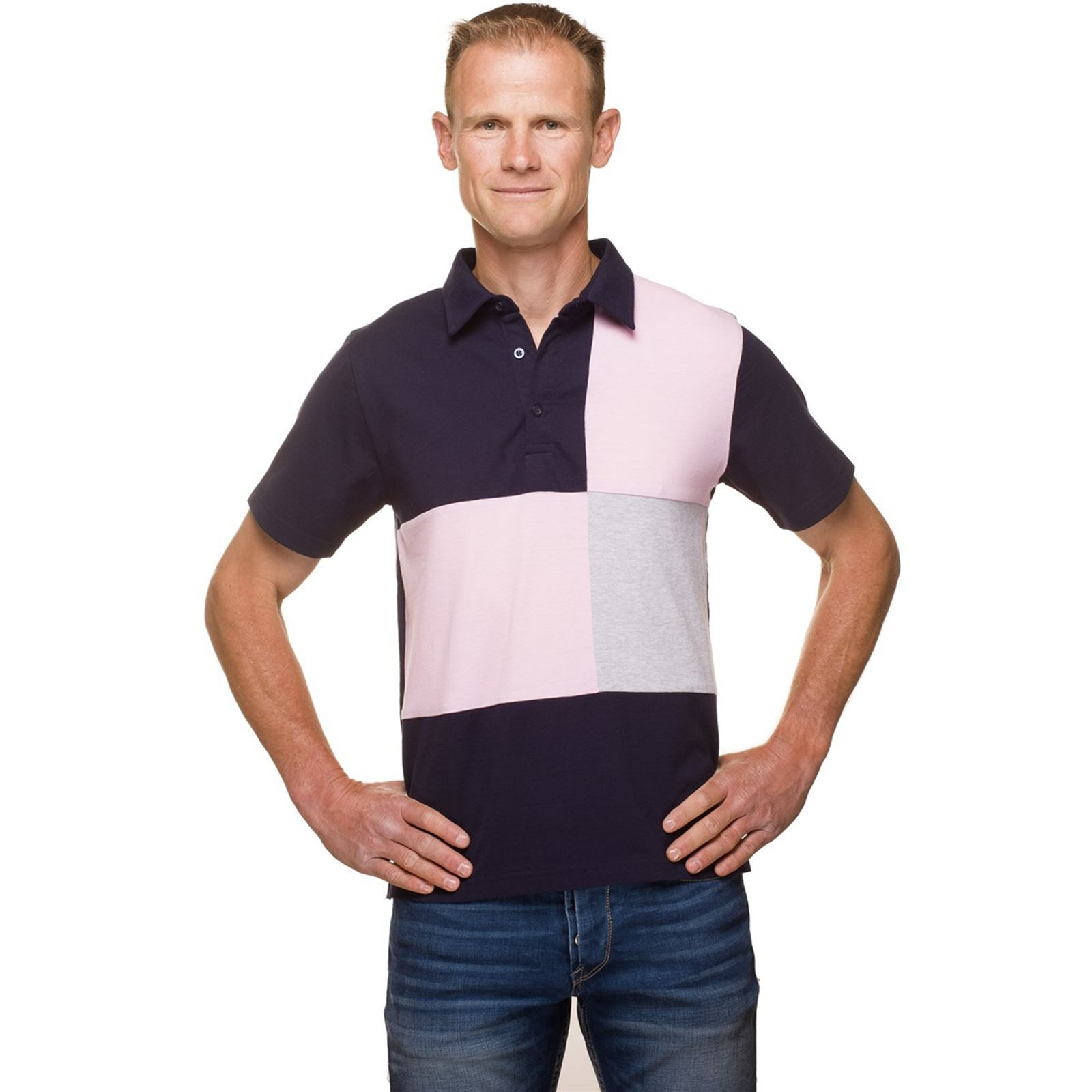 2271b35bb1fab Ugholin Polo rugby jersey coton tricolore - bleu   BrandAlley