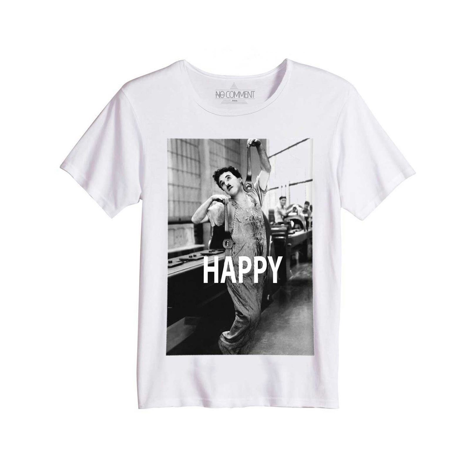 Chaplin Paris Happy Imprimé shirt T Charlie No Blanc Col Rond Comment t4Hqcg