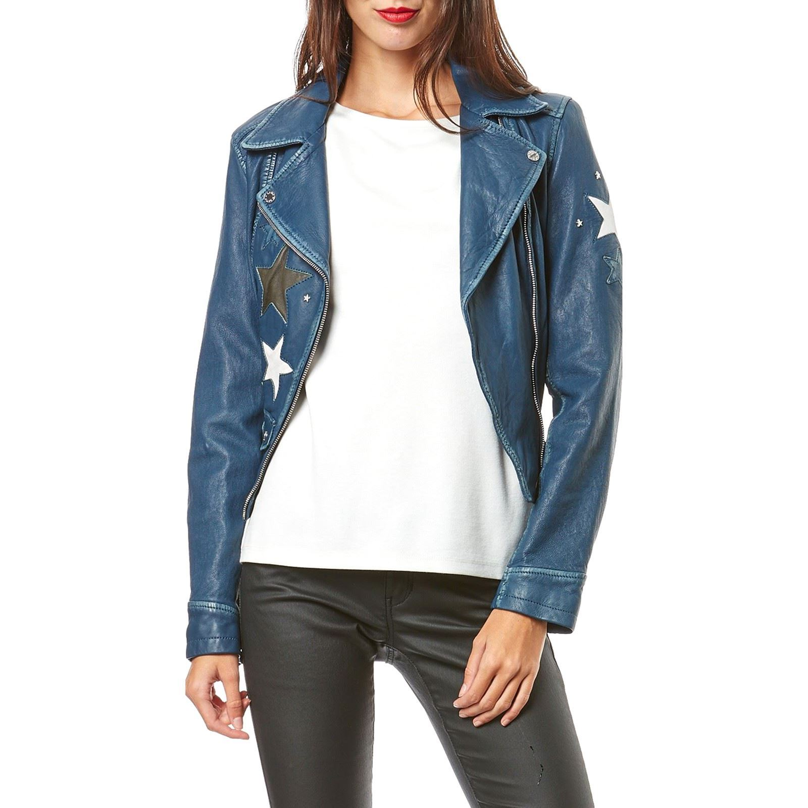 Oakwood Courtney - Veste biker en cuir de mouton - bleu jean ... eeb08a92f1ab