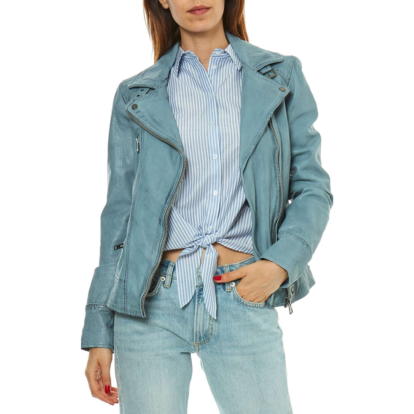Oakwood Each - Veste en cuir - bleu clair   BrandAlley 8de371a09a1f