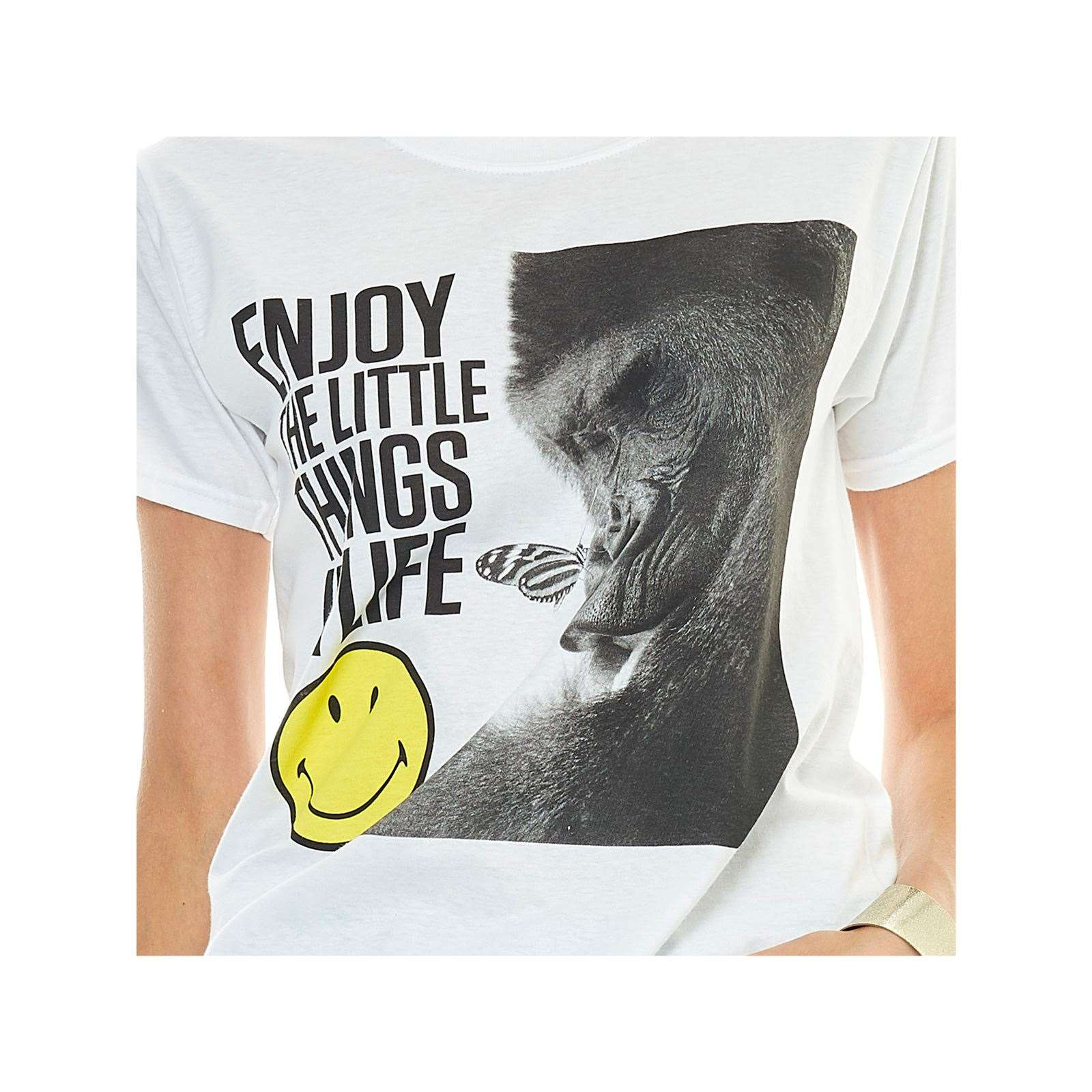 shirt Smiley T Life In Blanc The Enjoy Little Courtes Manches Things xwnr40UwZ