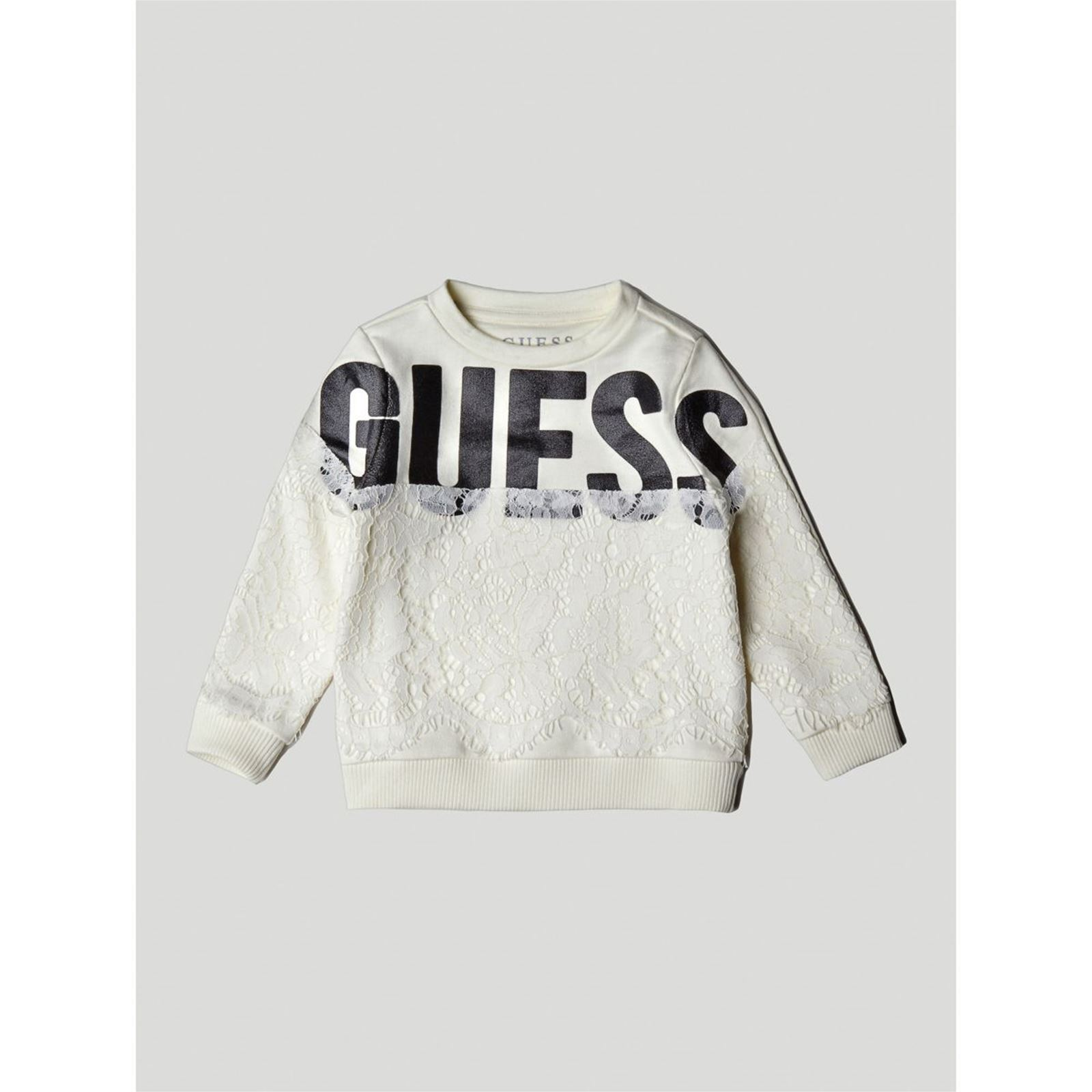 Guess Kids Sweat-shirt avec logo frontal et dentelle - blanc ... 83daf39476a4
