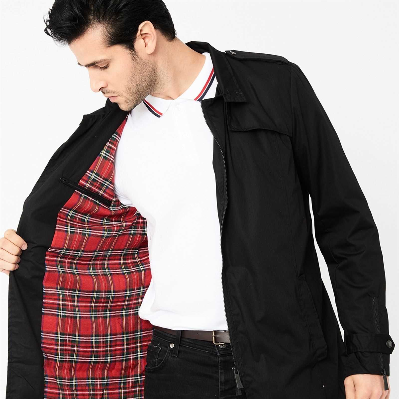 Doublure Harrington Tartan Harrington Trench Noir Trench FqwYBg