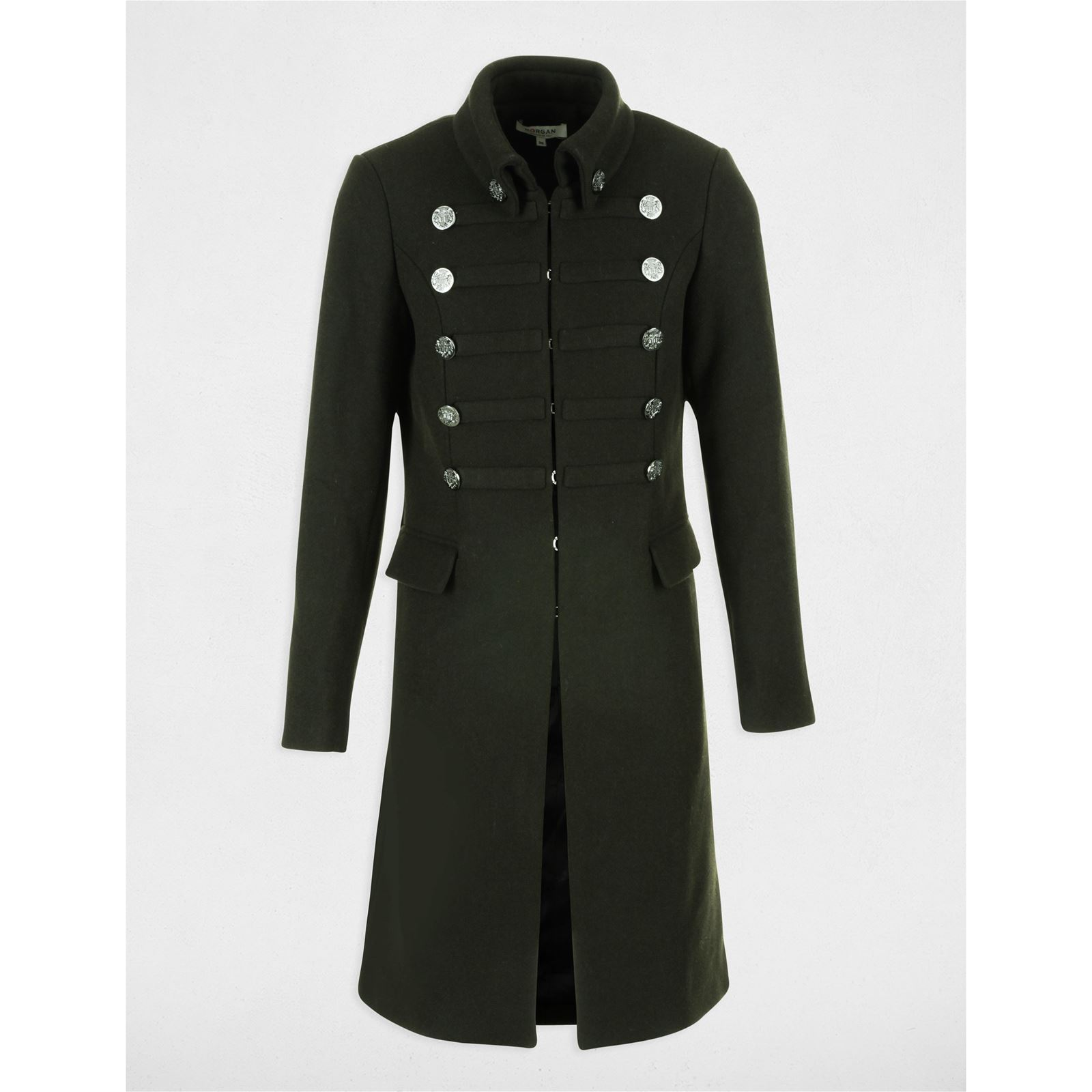 Morgan Gaspar - Manteau officier long 39% laine - kaki   BrandAlley cd61c695de89