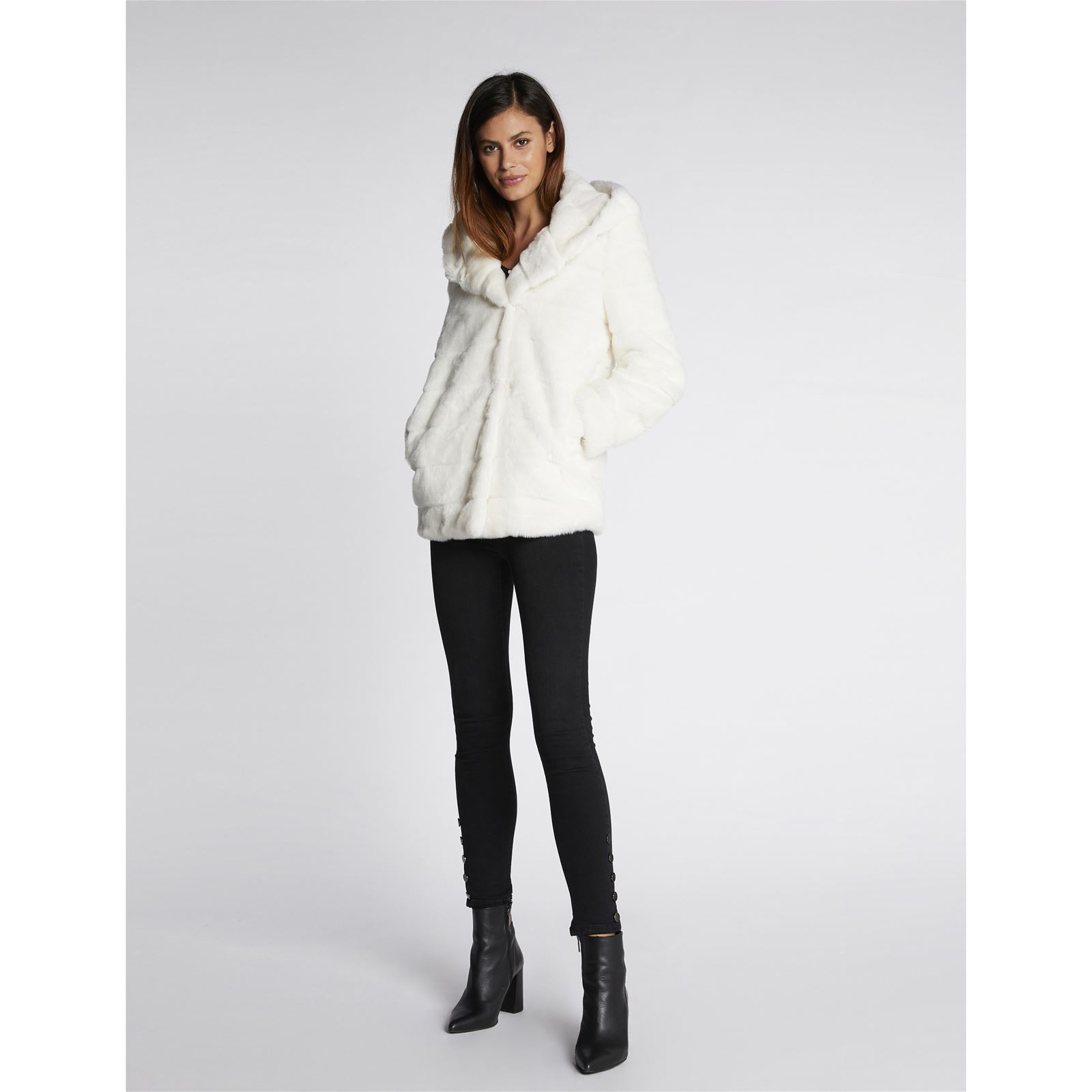 c3c9f55043e4c Morgan Manteau imitation fourrure - blanc   BrandAlley