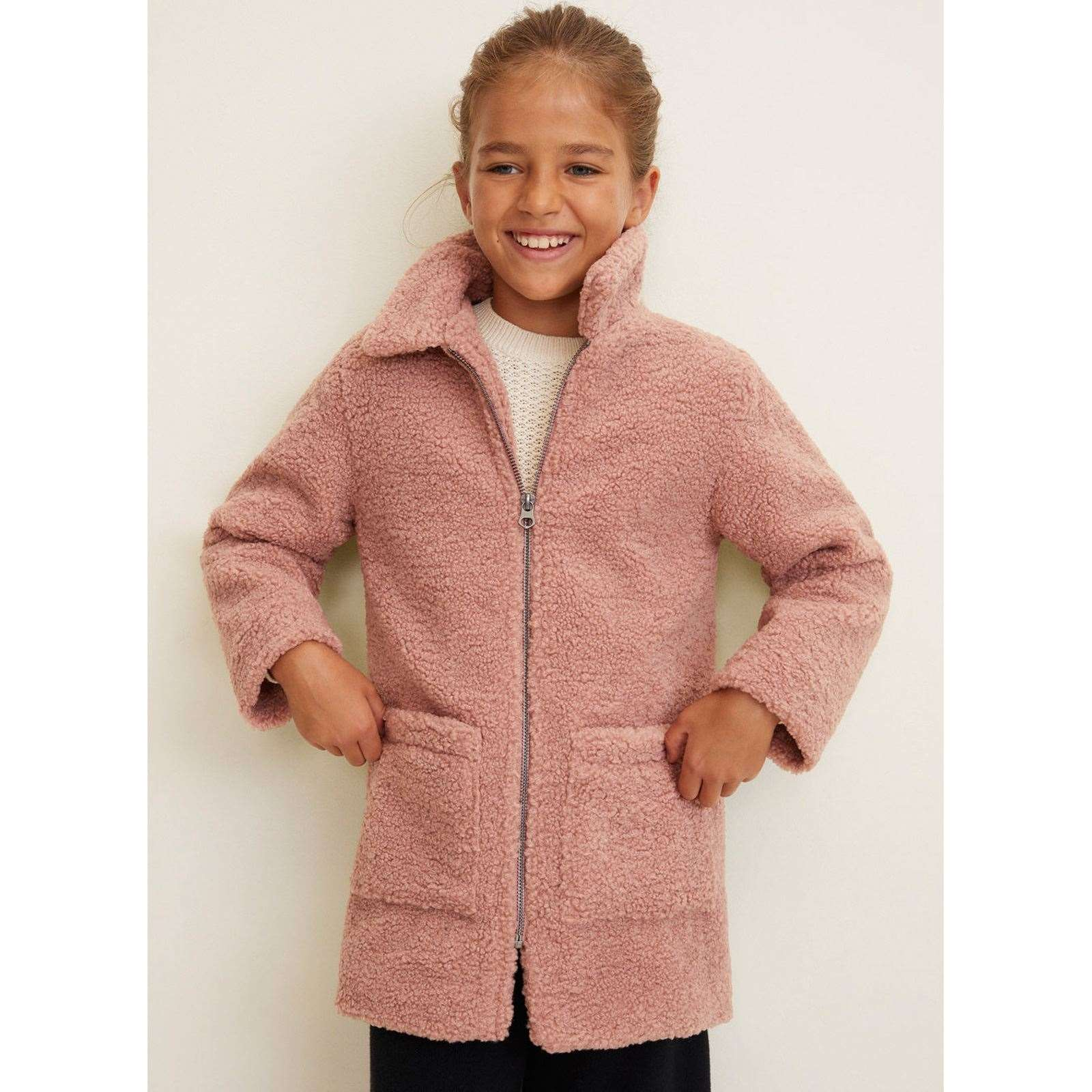 Mango Kids Manteau Imitation Mouton Rose Brandalley