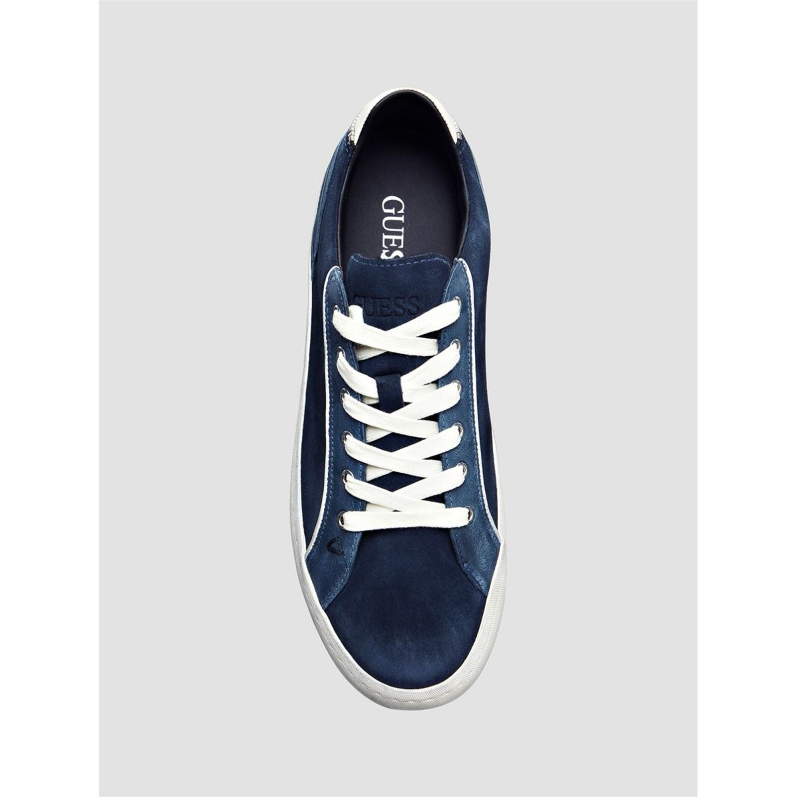 d6379859bddfe Guess Low - Baskets en cuir - bleu   BrandAlley