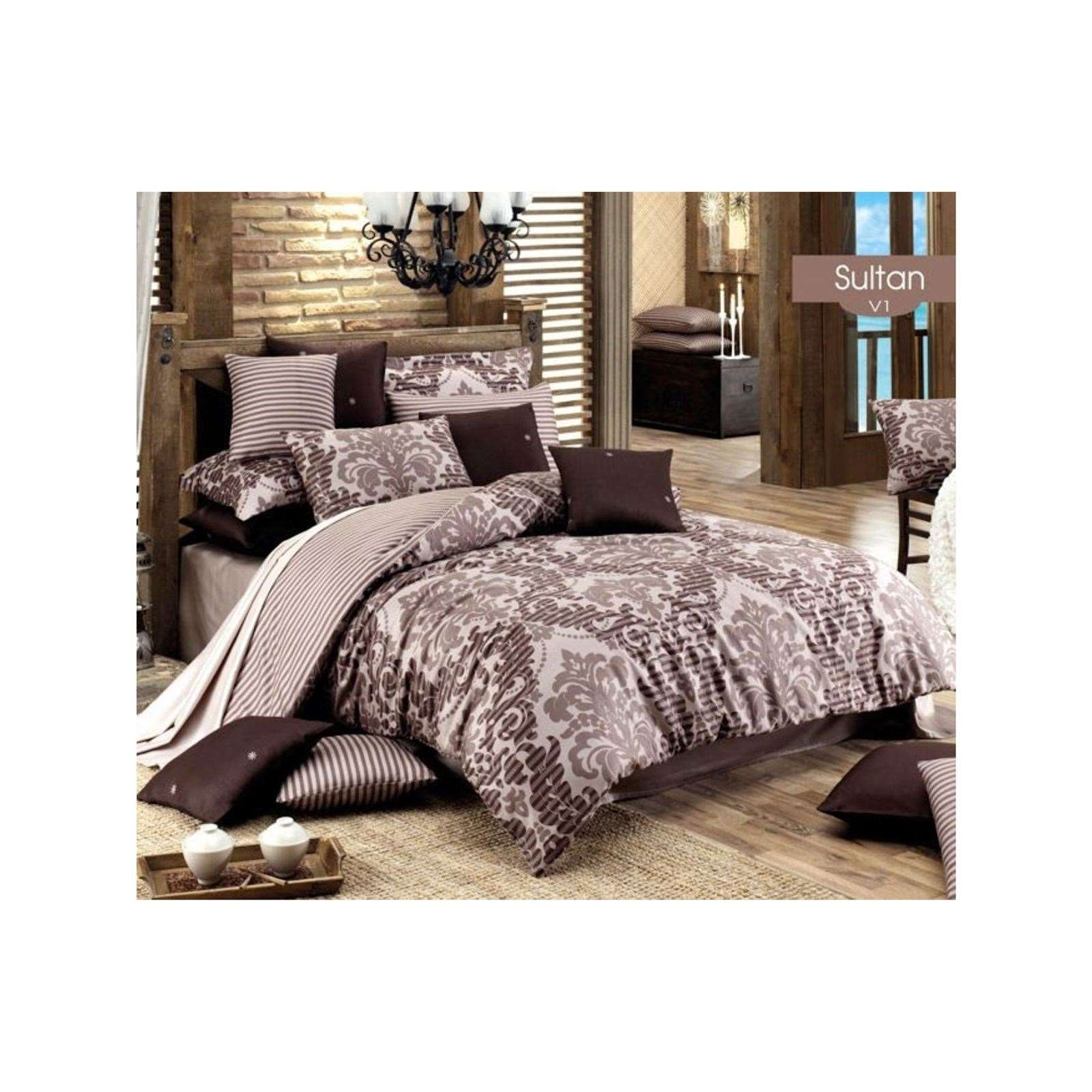 majoli parure de lit en satin de coton chocolat brandalley. Black Bedroom Furniture Sets. Home Design Ideas