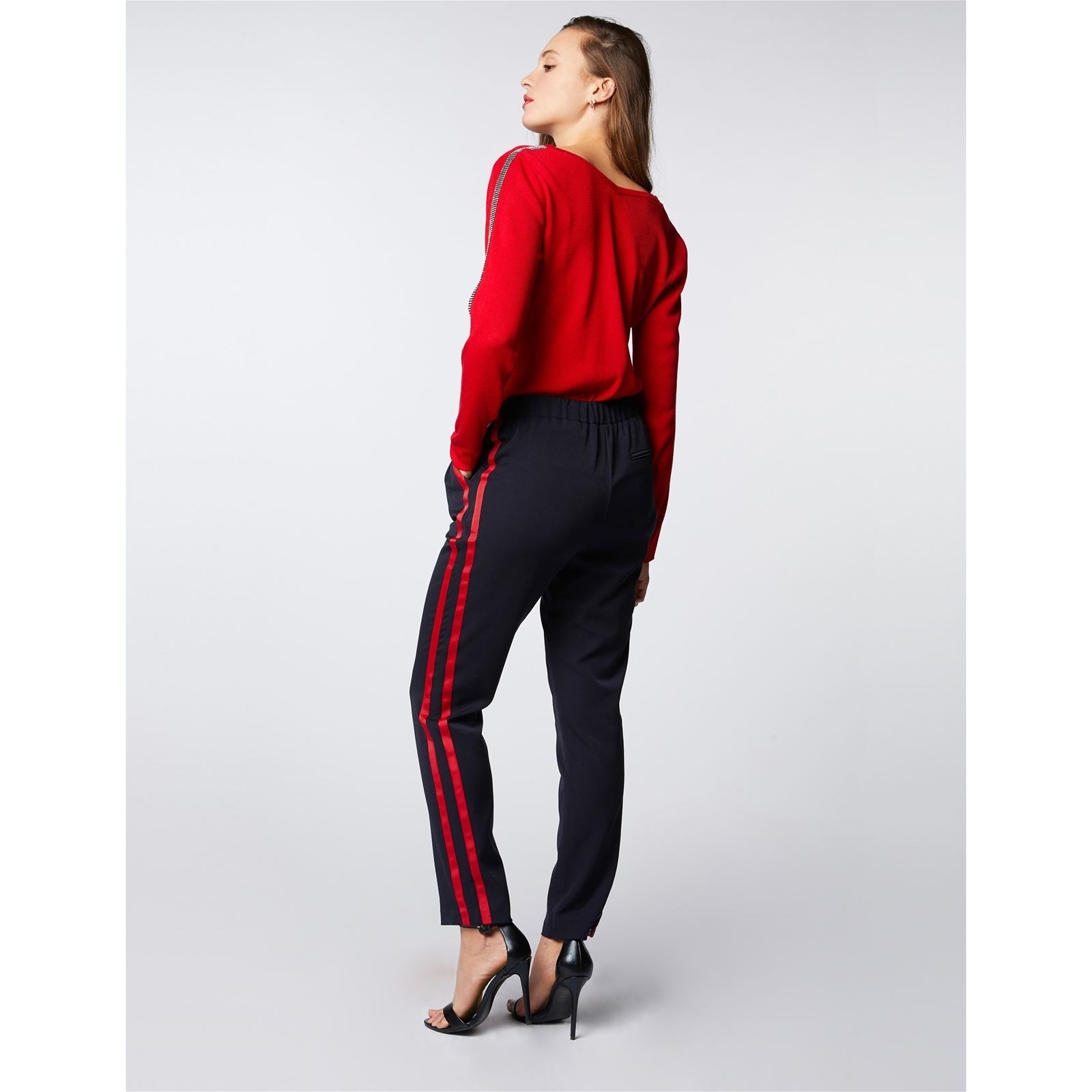 V Sur Brandalley Avec Pull Morgan Strass Rouge Col Manche 1TUwxqvX
