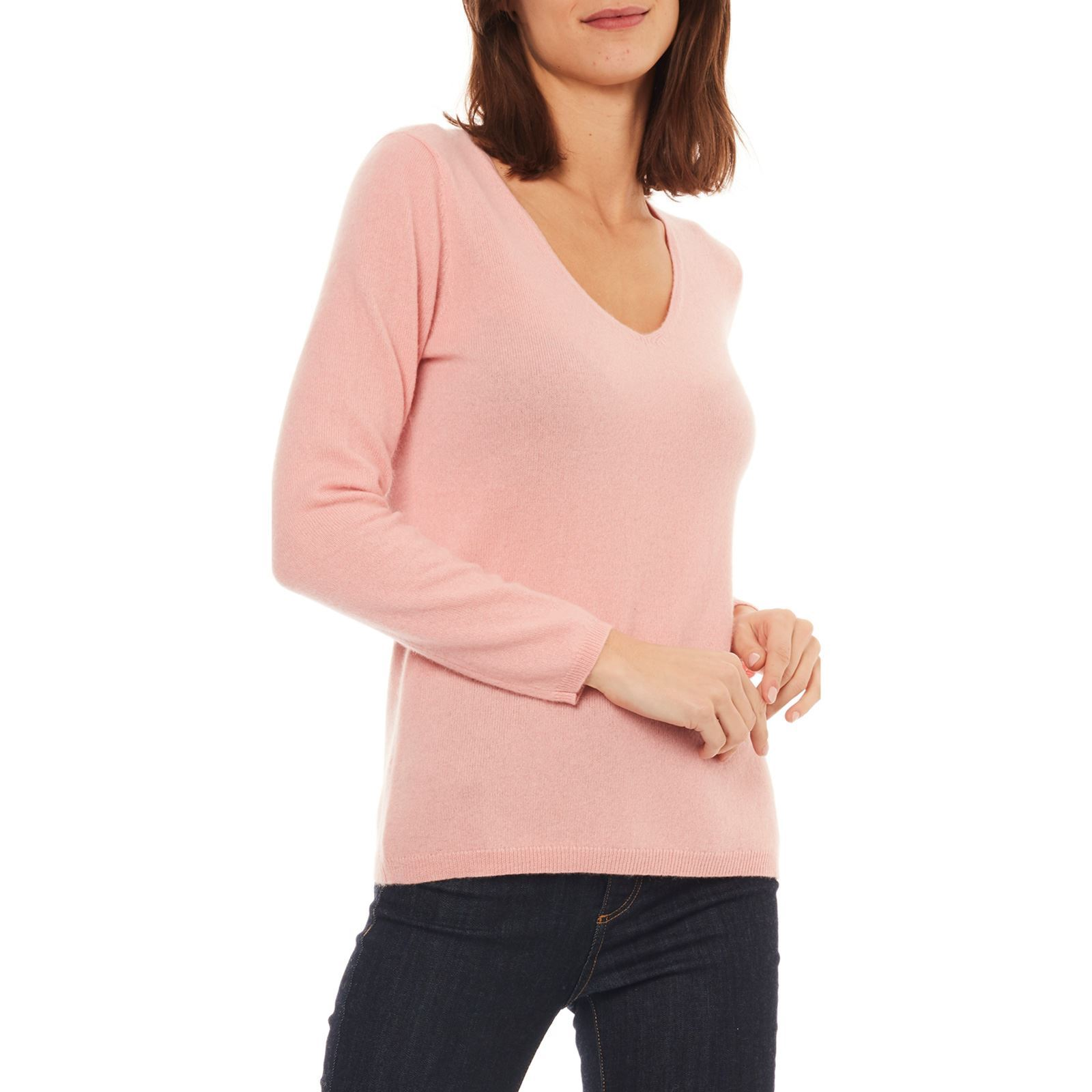 2ee002fddb8 Caroll Pull 100% cachemire - rose clair