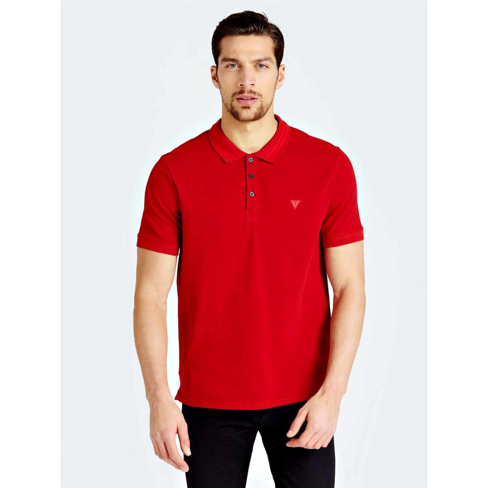 Polo Guess Guess Rouge Courtes Manches Rouge Courtes Guess Manches Polo UxwPZwq