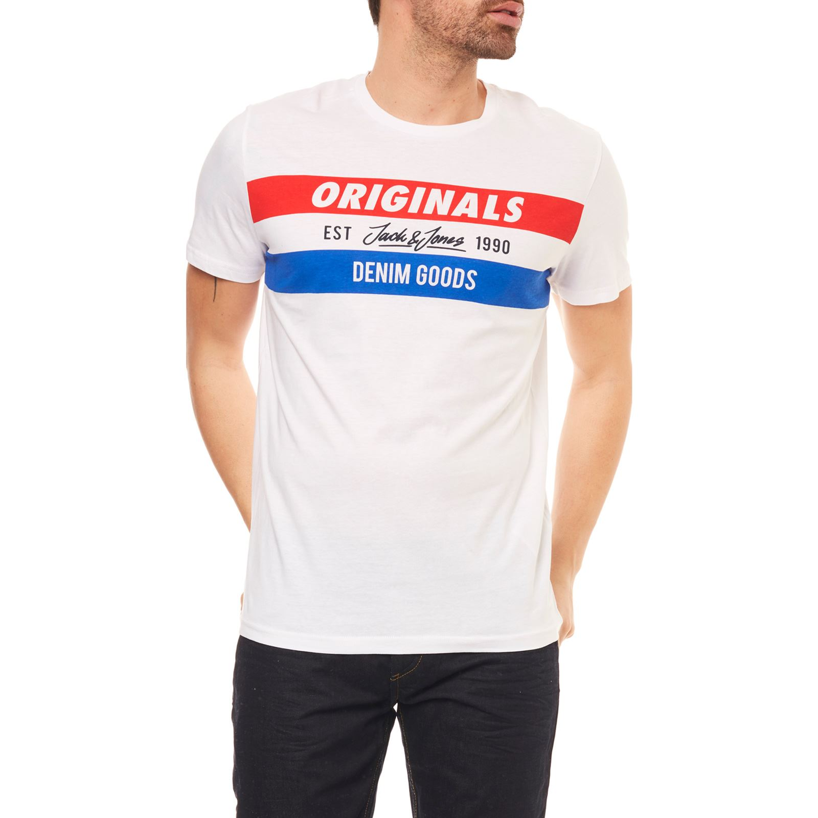 Jorshakedowns T shirt Blanc amp; Jack Courtes Jones Manches qSPRxxEn