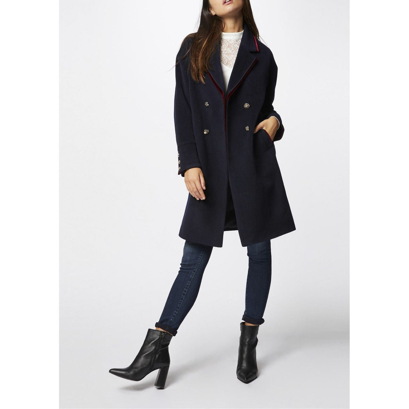 eb60be92601 Morgan Manteau 66% laine - bleu marine