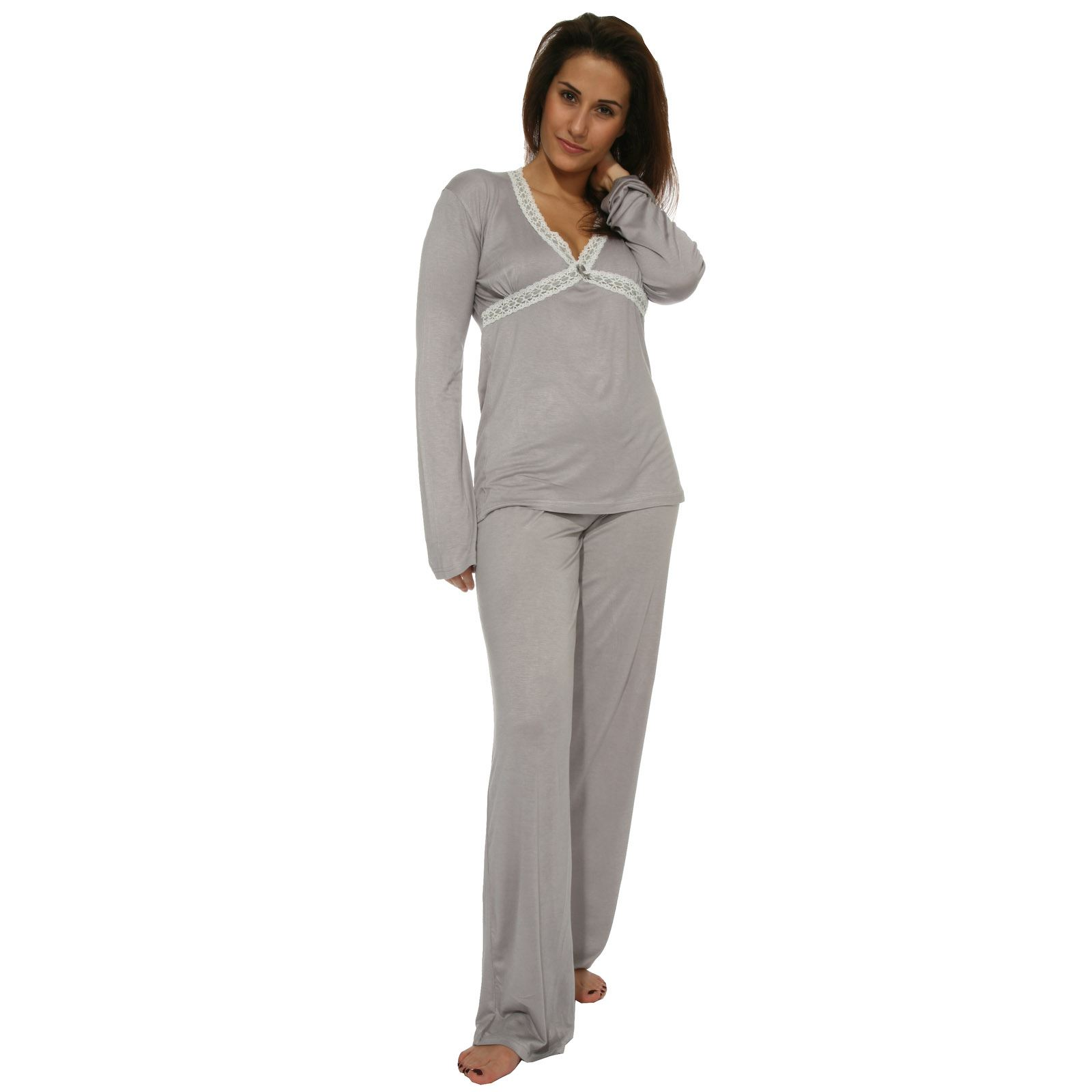 ted lapidus femme pyjama avec dentelle gris pour gris brandalley. Black Bedroom Furniture Sets. Home Design Ideas