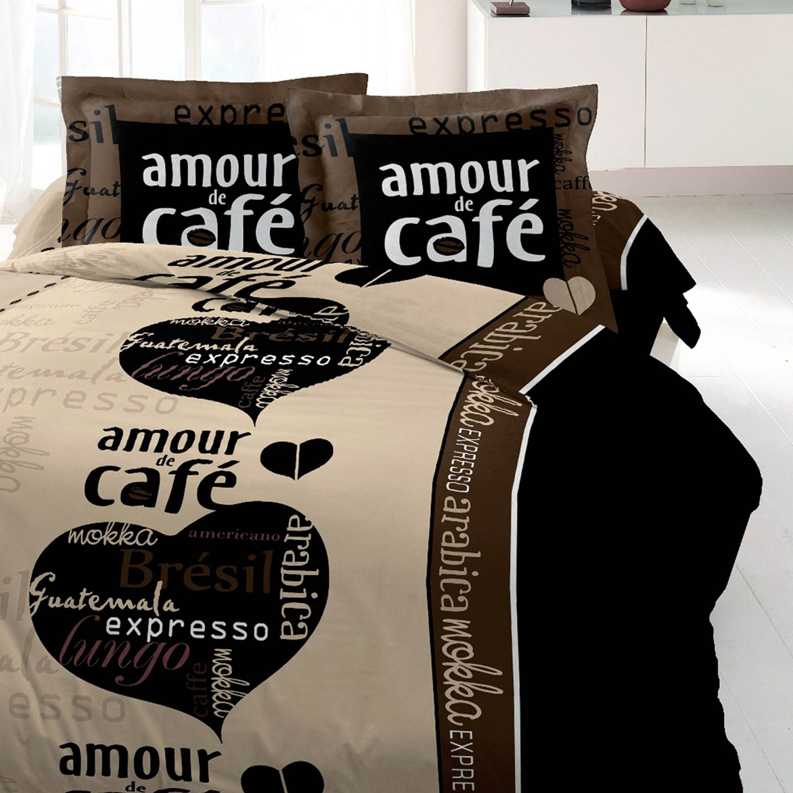 My Home Amour De Cafe Couette Imprimee 220 X 240 Cafe Brandalley