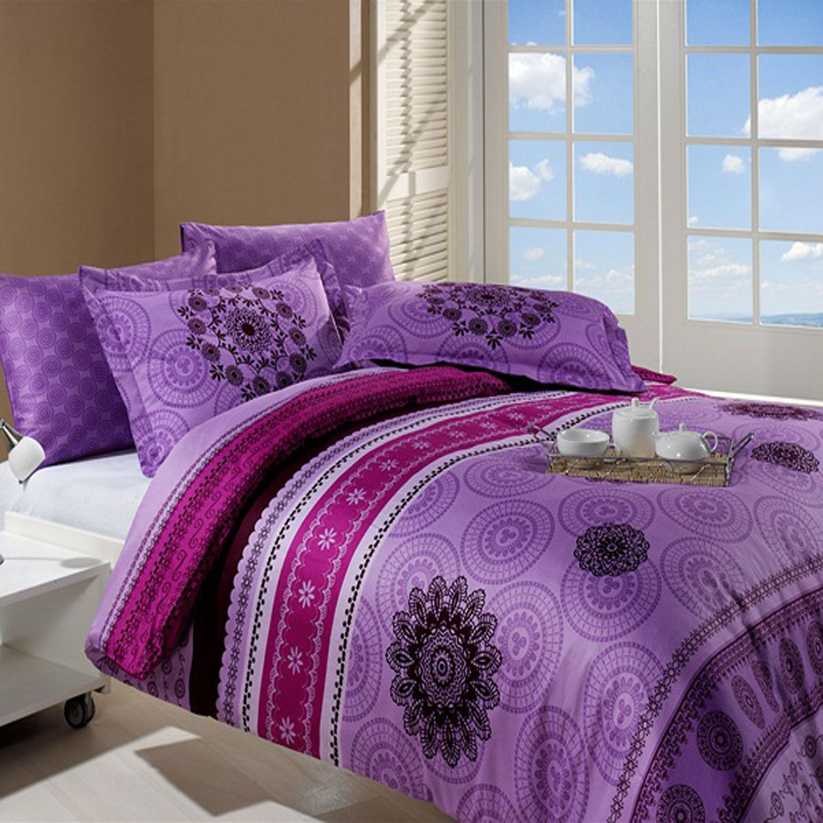 sensei parure housse de couette violet brandalley. Black Bedroom Furniture Sets. Home Design Ideas