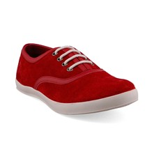 Sneakers - en cuir rouge