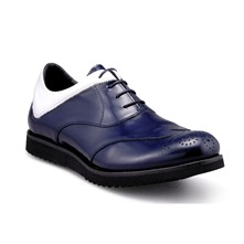 Jacob - Derbies - en cuir bleu marine et blanc